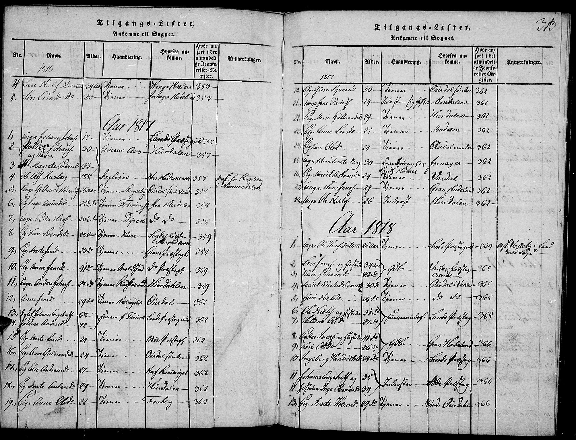 SAH, Toten prestekontor, Ministerialbok nr. 9, 1814-1820, s. 313