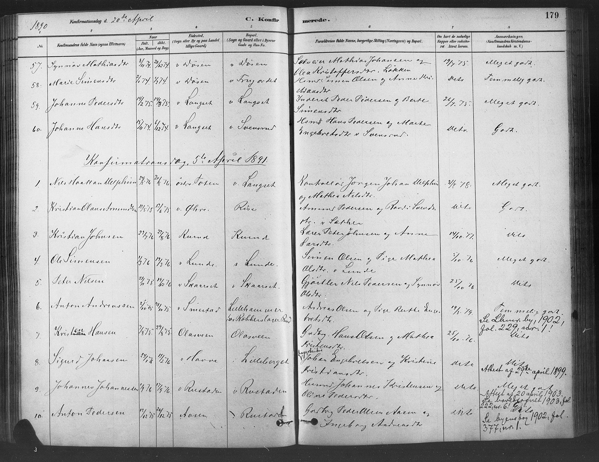 SAH, Fåberg prestekontor, Ministerialbok nr. 9, 1879-1898, s. 179