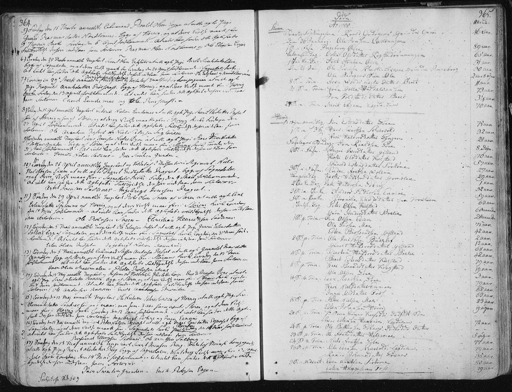 SAT, Ministerialprotokoller, klokkerbøker og fødselsregistre - Sør-Trøndelag, 687/L0992: Ministerialbok nr. 687A03 /1, 1788-1815, s. 364-365