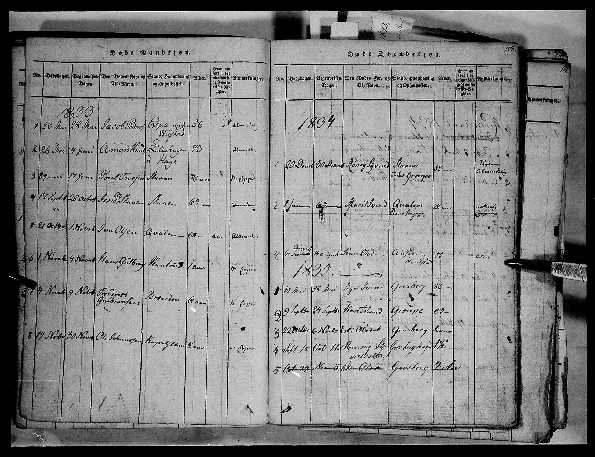 SAH, Fron prestekontor, H/Ha/Hab/L0003: Klokkerbok nr. 3, 1816-1850, s. 108