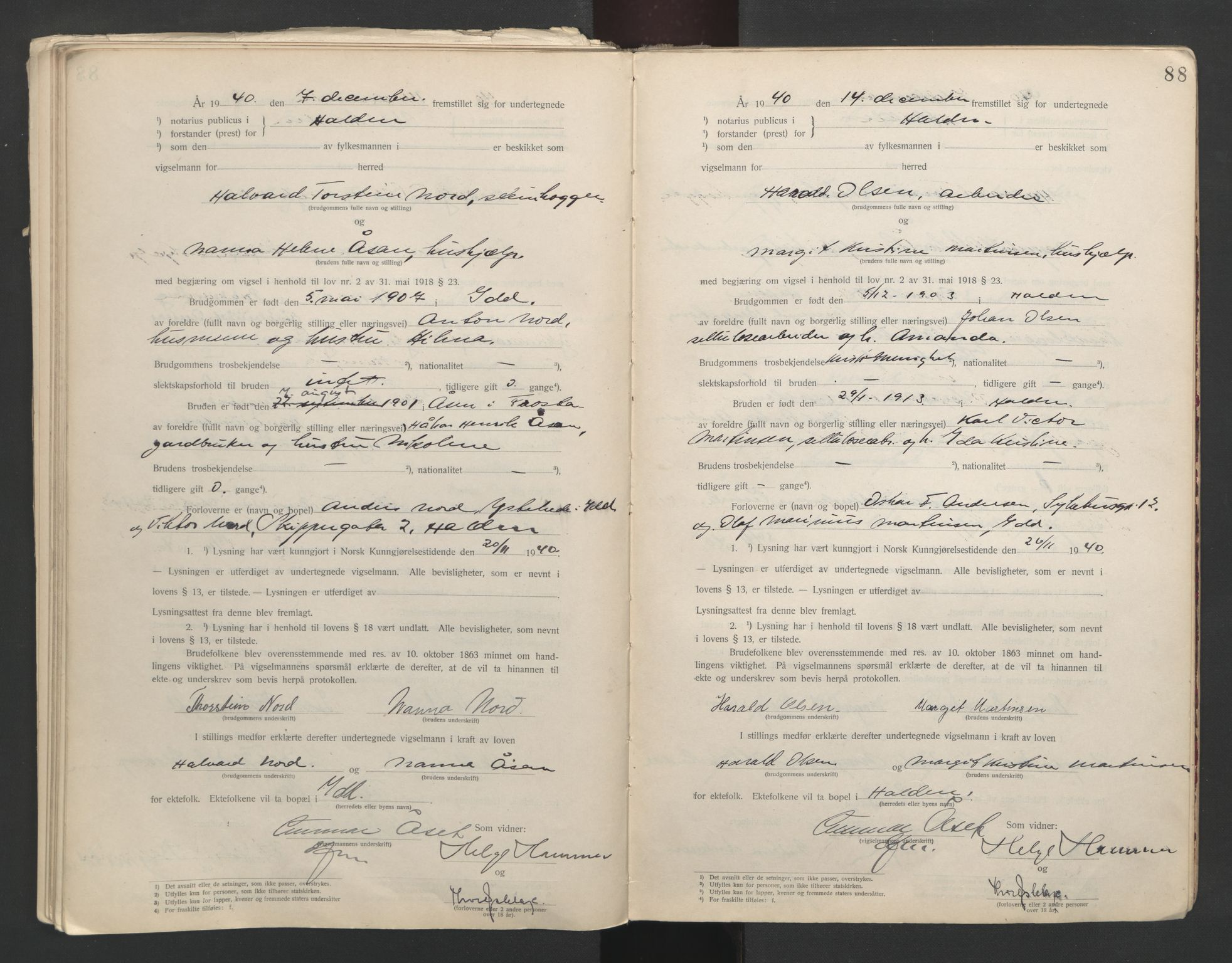 SAO, Idd og Marker sorenskriveri, L/Lc/L0001: Vigselsbøker, 1920-1942, s. 88