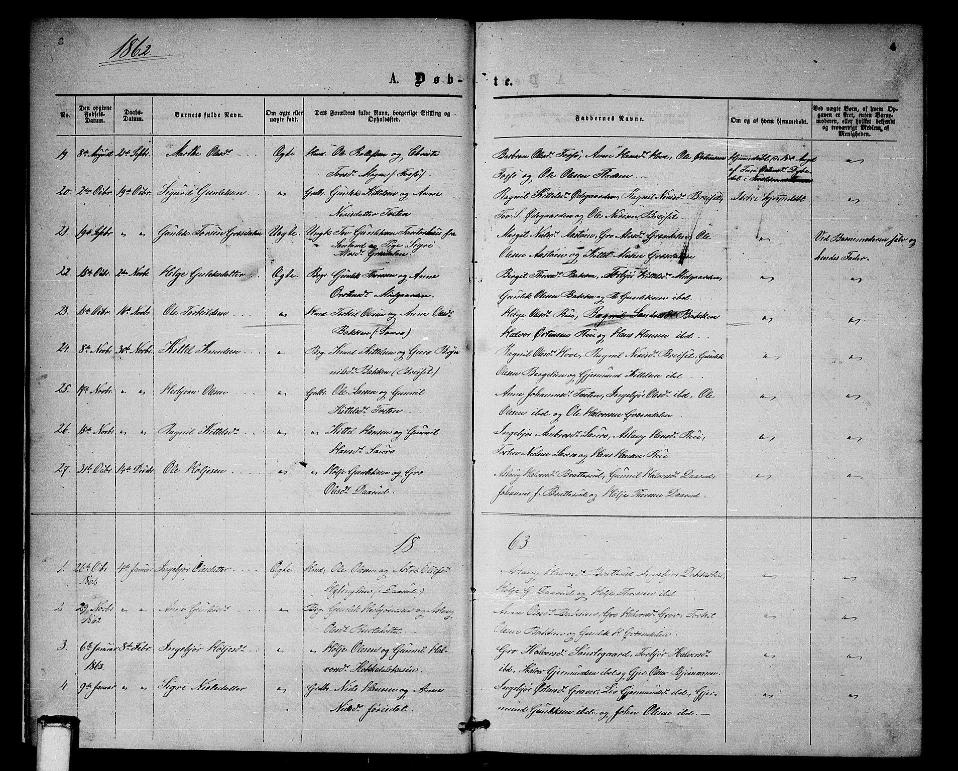 SAKO, Gransherad kirkebøker, G/Gb/L0002: Klokkerbok nr. II 2, 1860-1886, s. 4