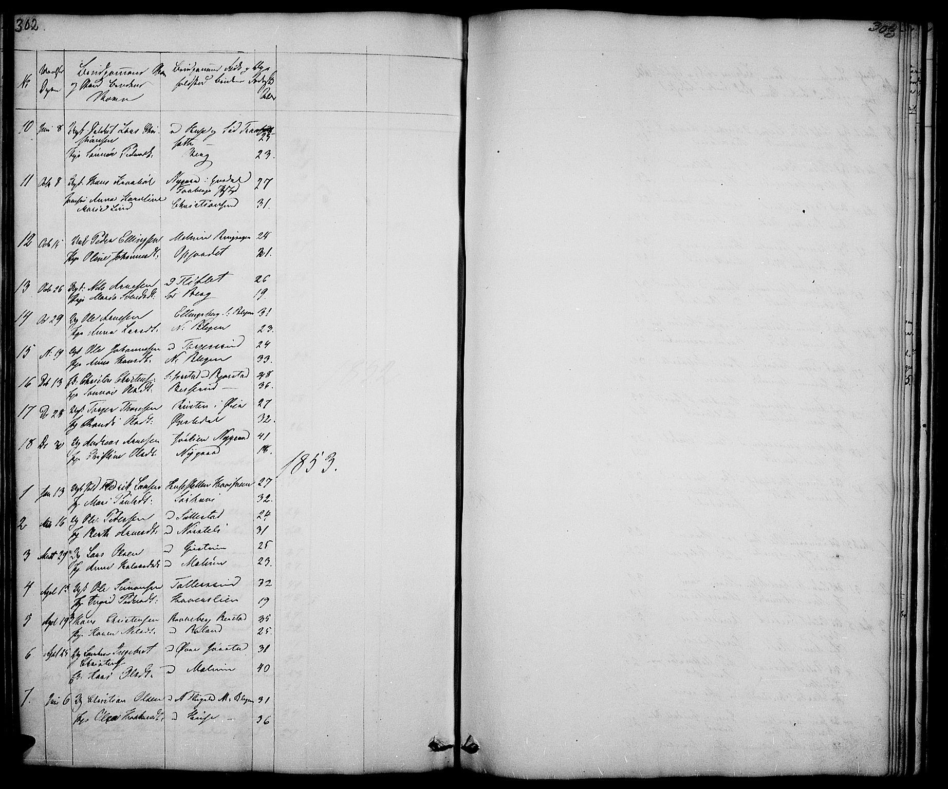 SAH, Fåberg prestekontor, Klokkerbok nr. 5, 1837-1864, s. 302-303