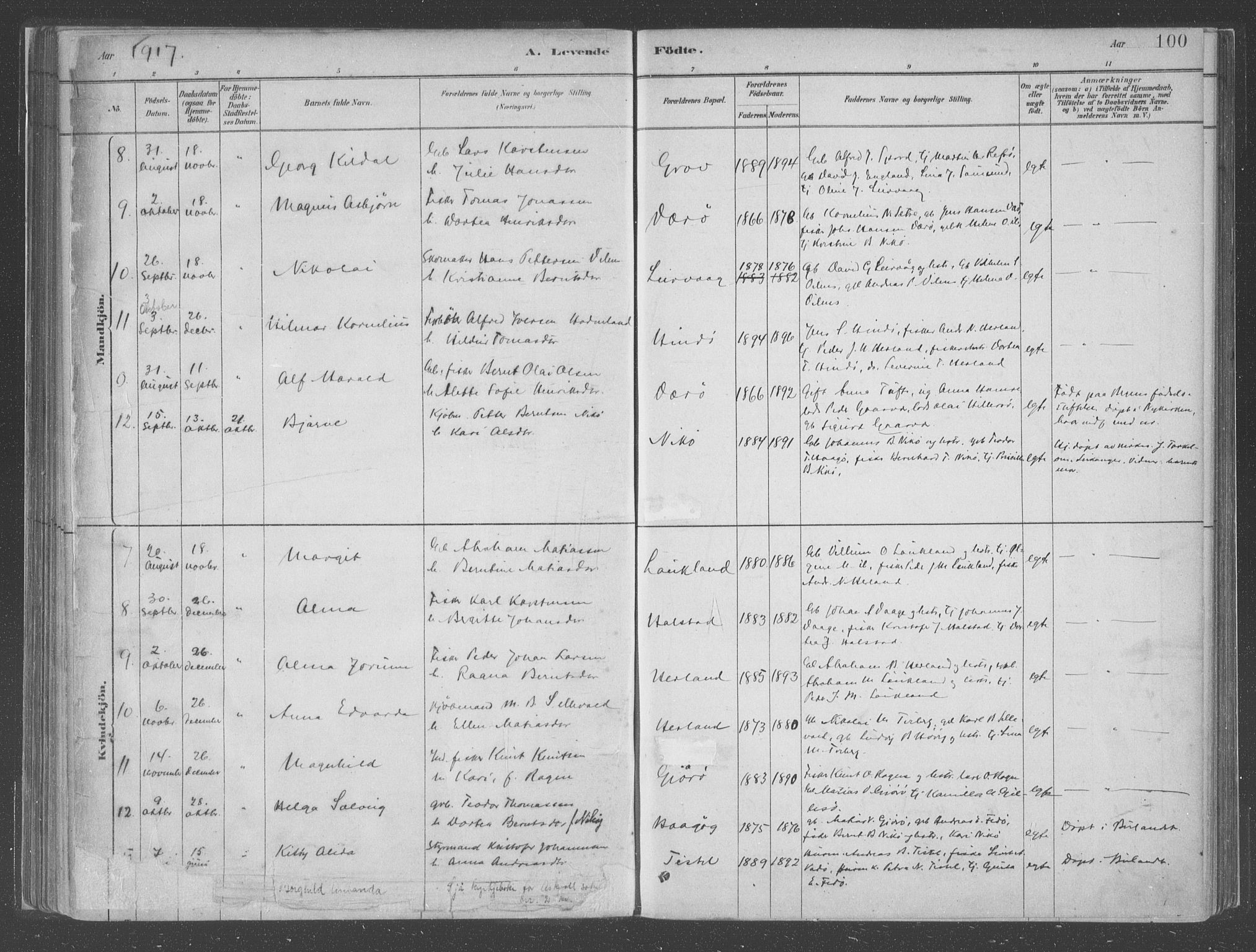 SAB, Askvoll Sokneprestembete, Ministerialbok nr. C  1, 1879-1922, s. 100