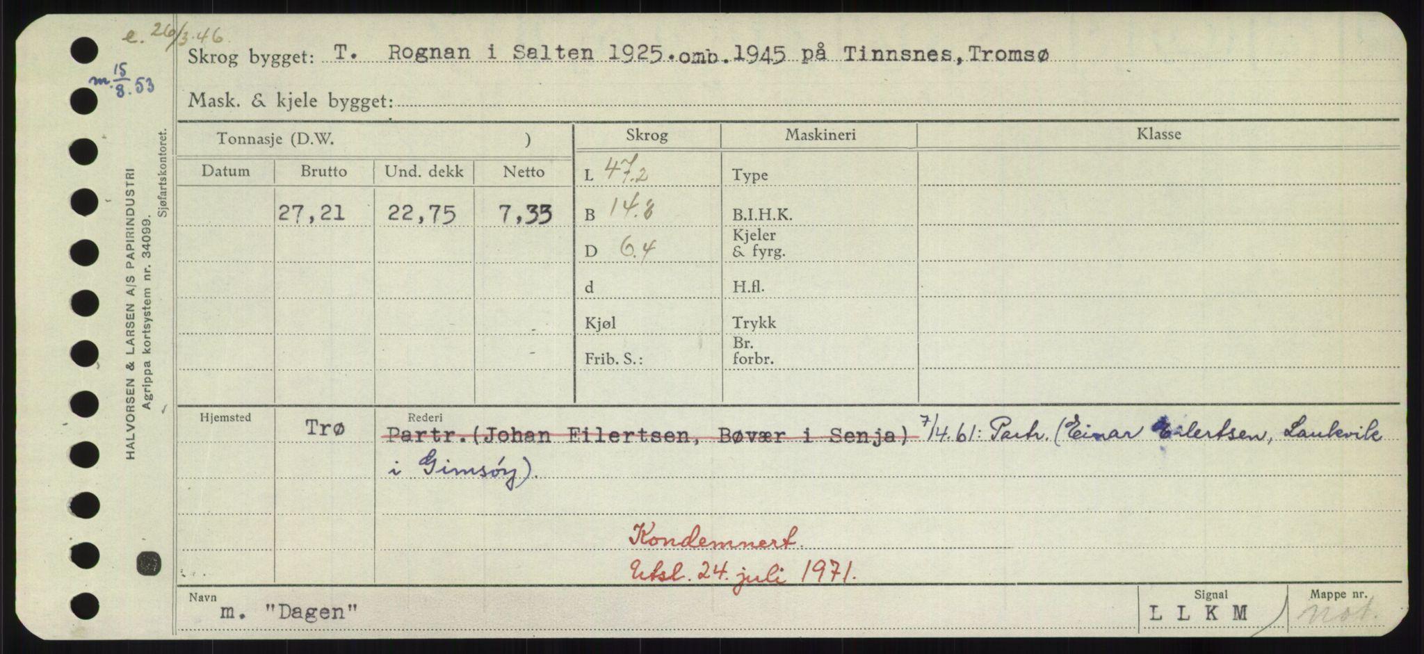 RA, Sjøfartsdirektoratet med forløpere, Skipsmålingen, H/Hd/L0008: Fartøy, C-D, s. 317