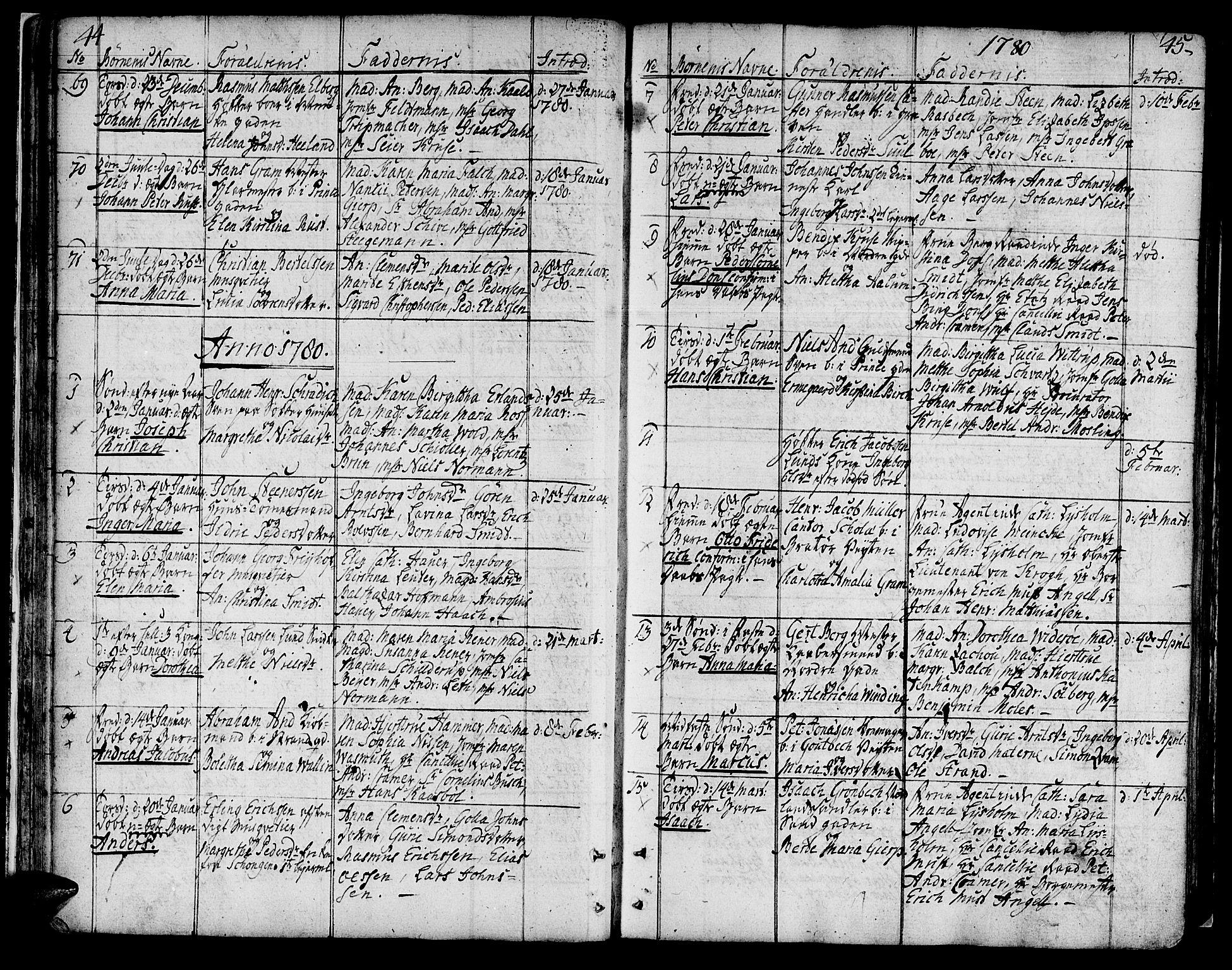 SAT, Ministerialprotokoller, klokkerbøker og fødselsregistre - Sør-Trøndelag, 602/L0104: Ministerialbok nr. 602A02, 1774-1814, s. 44-45