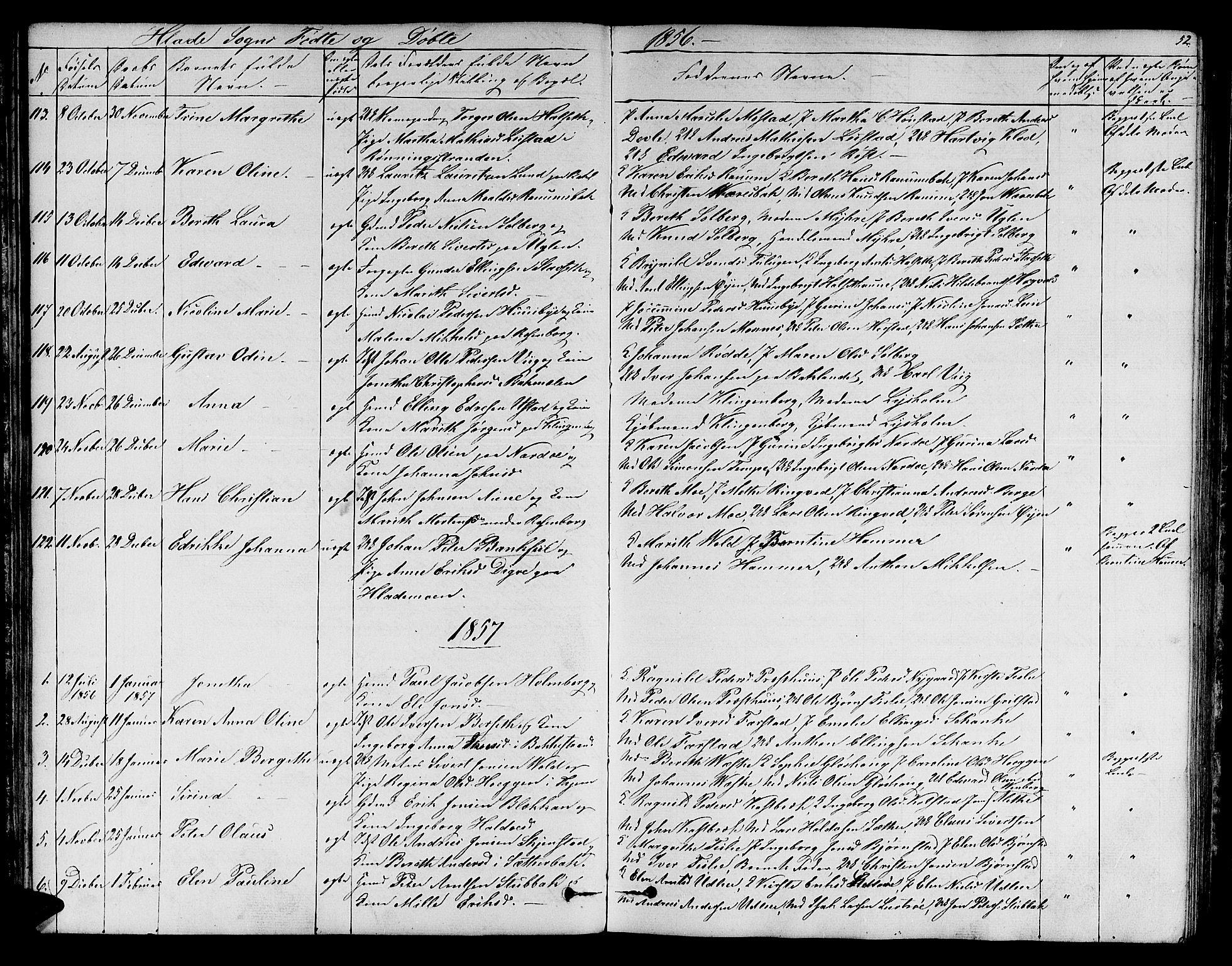 SAT, Ministerialprotokoller, klokkerbøker og fødselsregistre - Sør-Trøndelag, 606/L0310: Klokkerbok nr. 606C06, 1850-1859, s. 52