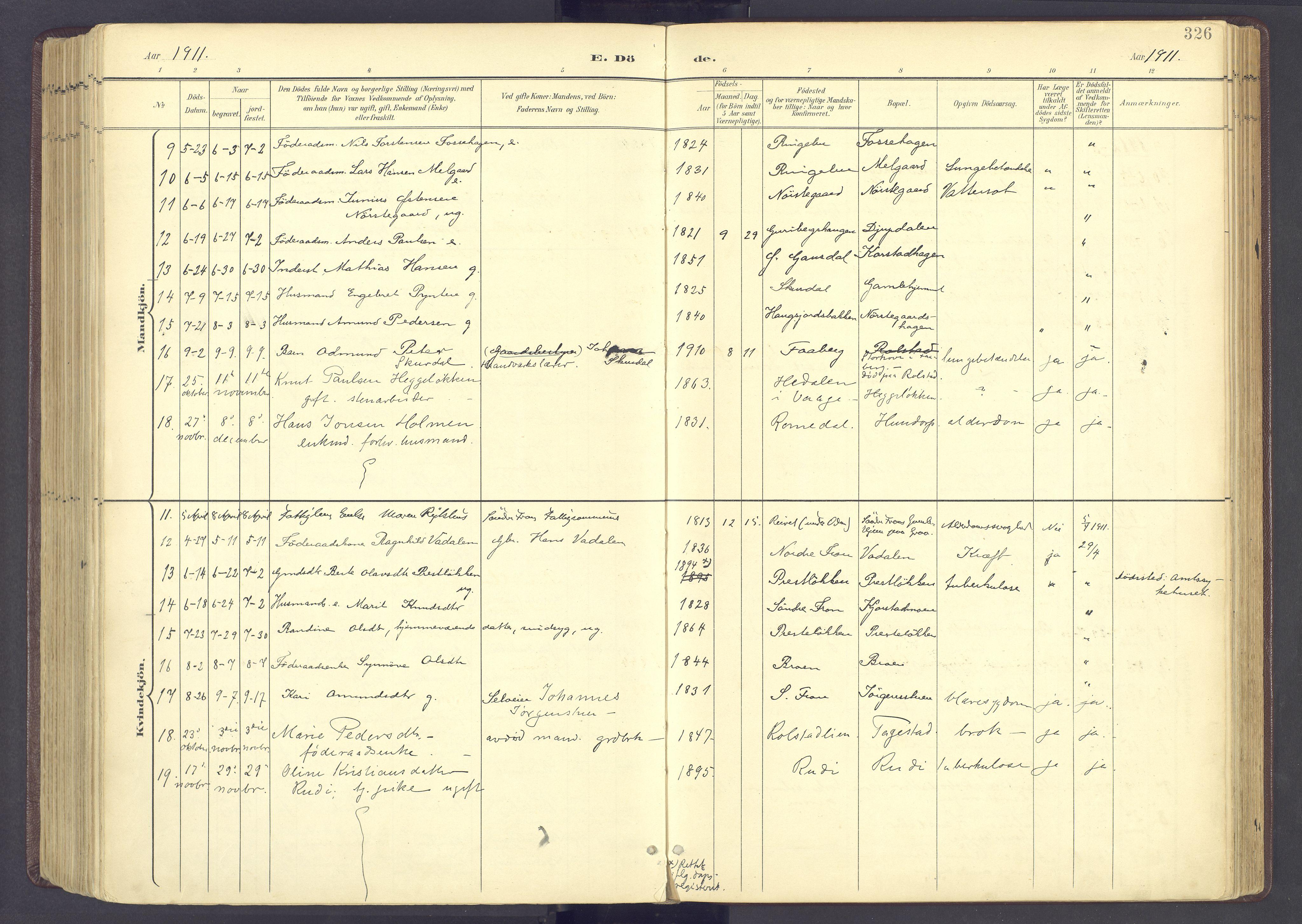 SAH, Sør-Fron prestekontor, H/Ha/Haa/L0004: Ministerialbok nr. 4, 1898-1919, s. 326