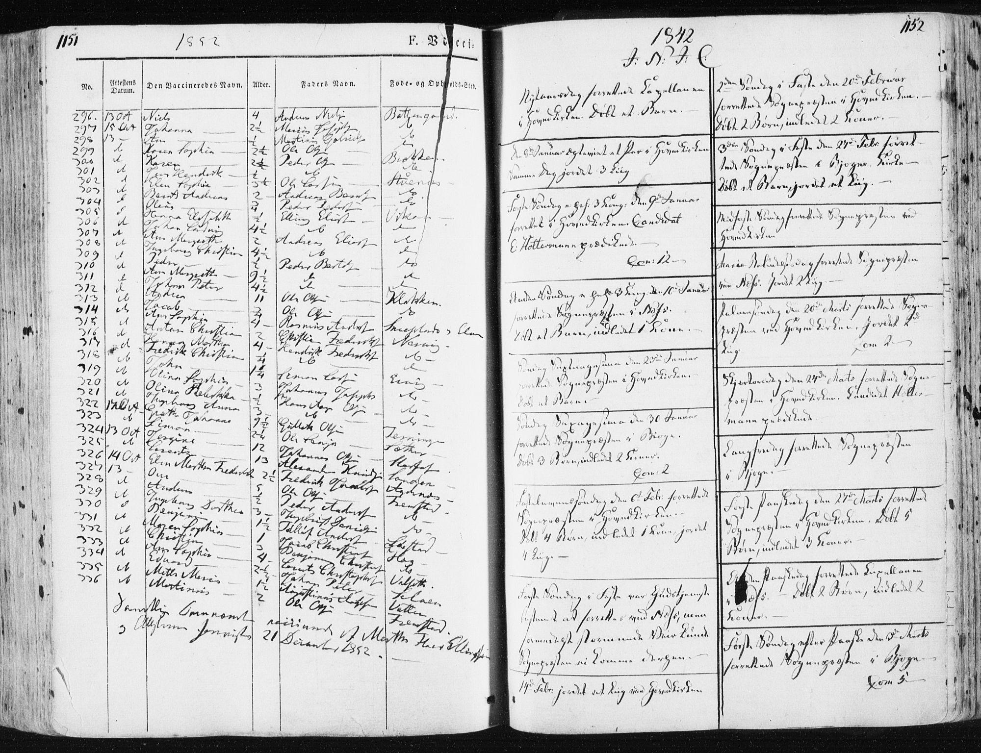 SAT, Ministerialprotokoller, klokkerbøker og fødselsregistre - Sør-Trøndelag, 659/L0736: Ministerialbok nr. 659A06, 1842-1856, s. 1151-1152