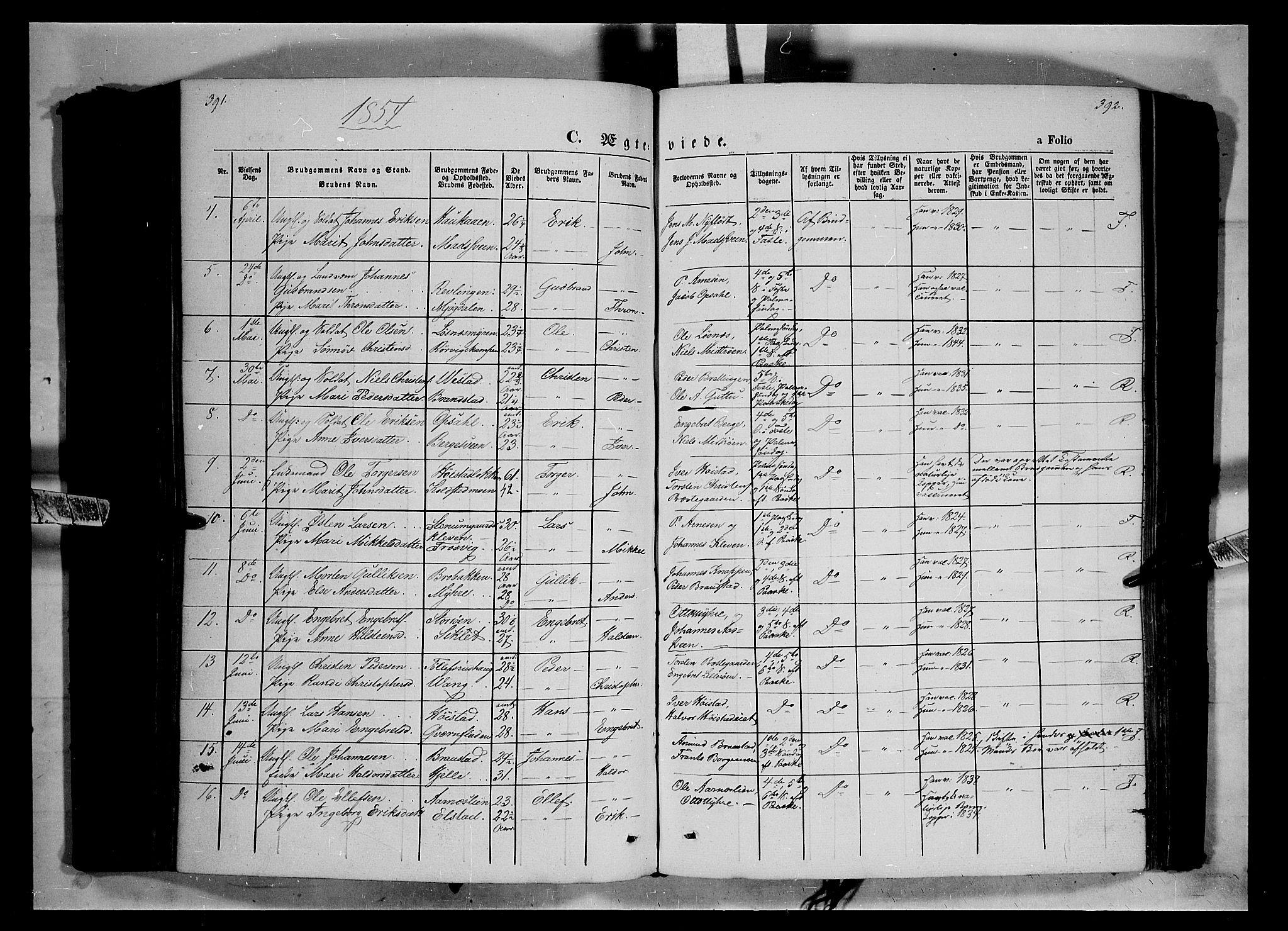 SAH, Ringebu prestekontor, Ministerialbok nr. 6, 1848-1859, s. 391-392