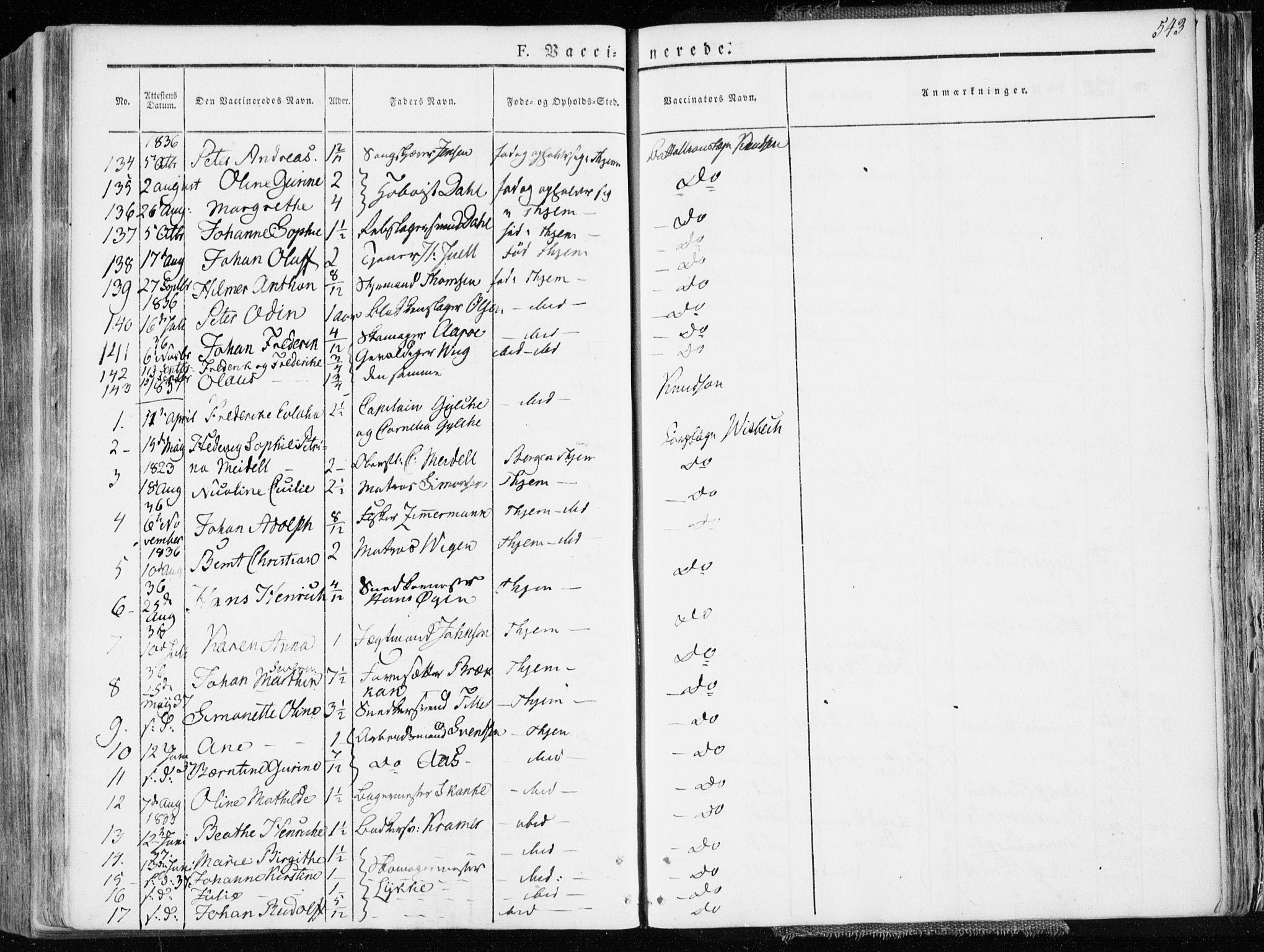 SAT, Ministerialprotokoller, klokkerbøker og fødselsregistre - Sør-Trøndelag, 601/L0047: Ministerialbok nr. 601A15, 1831-1839, s. 543