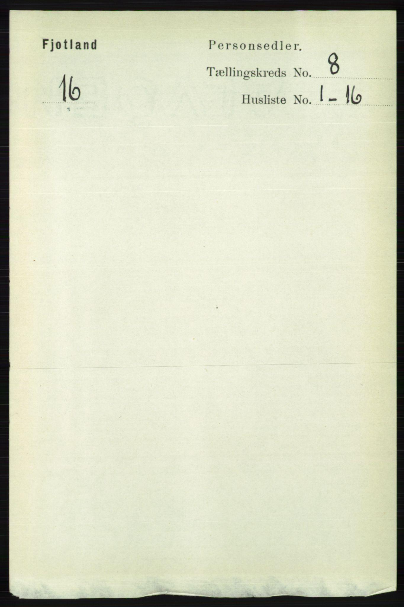 RA, Folketelling 1891 for 1036 Fjotland herred, 1891, s. 1188