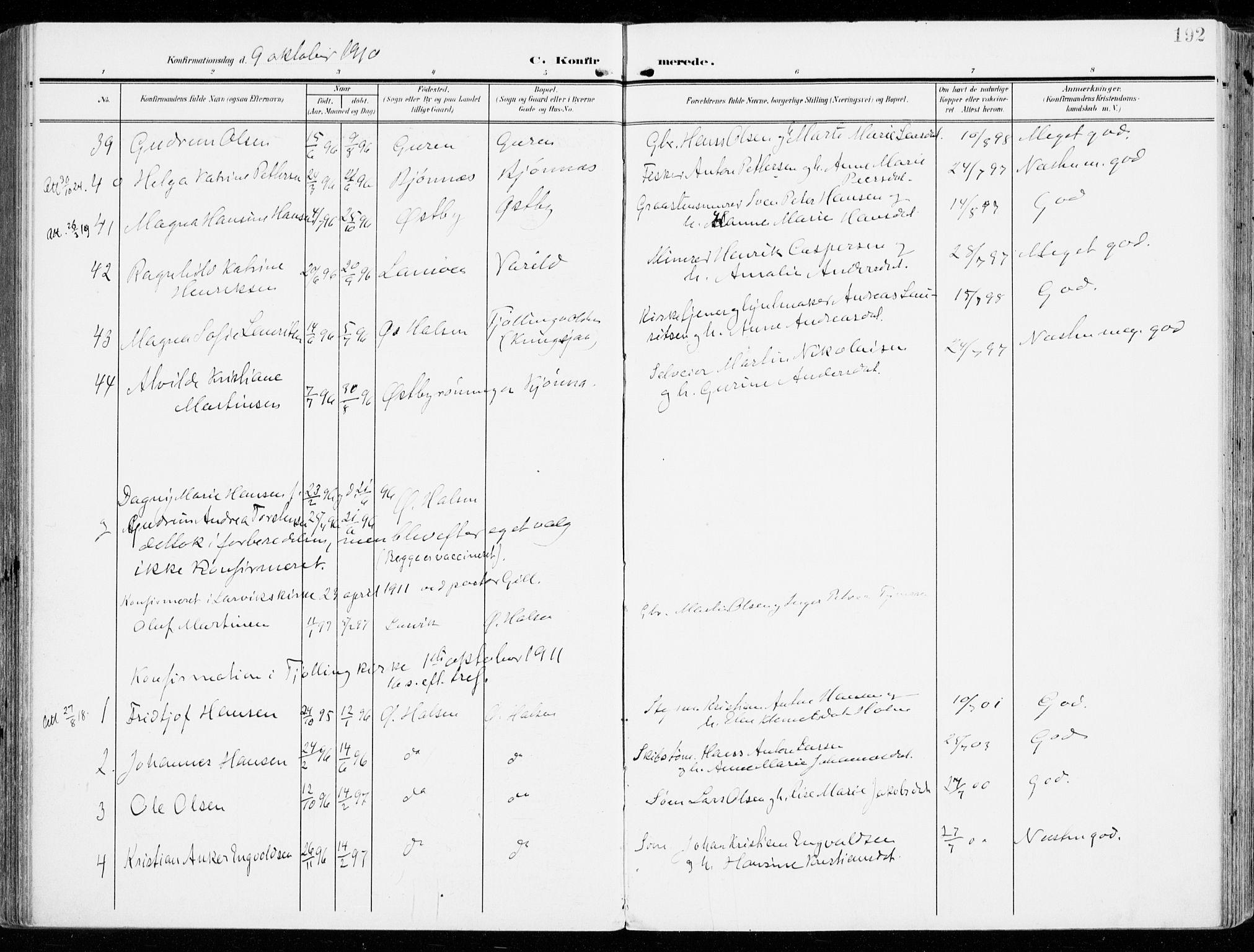 SAKO, Tjølling kirkebøker, F/Fa/L0010: Ministerialbok nr. 10, 1906-1923, s. 192
