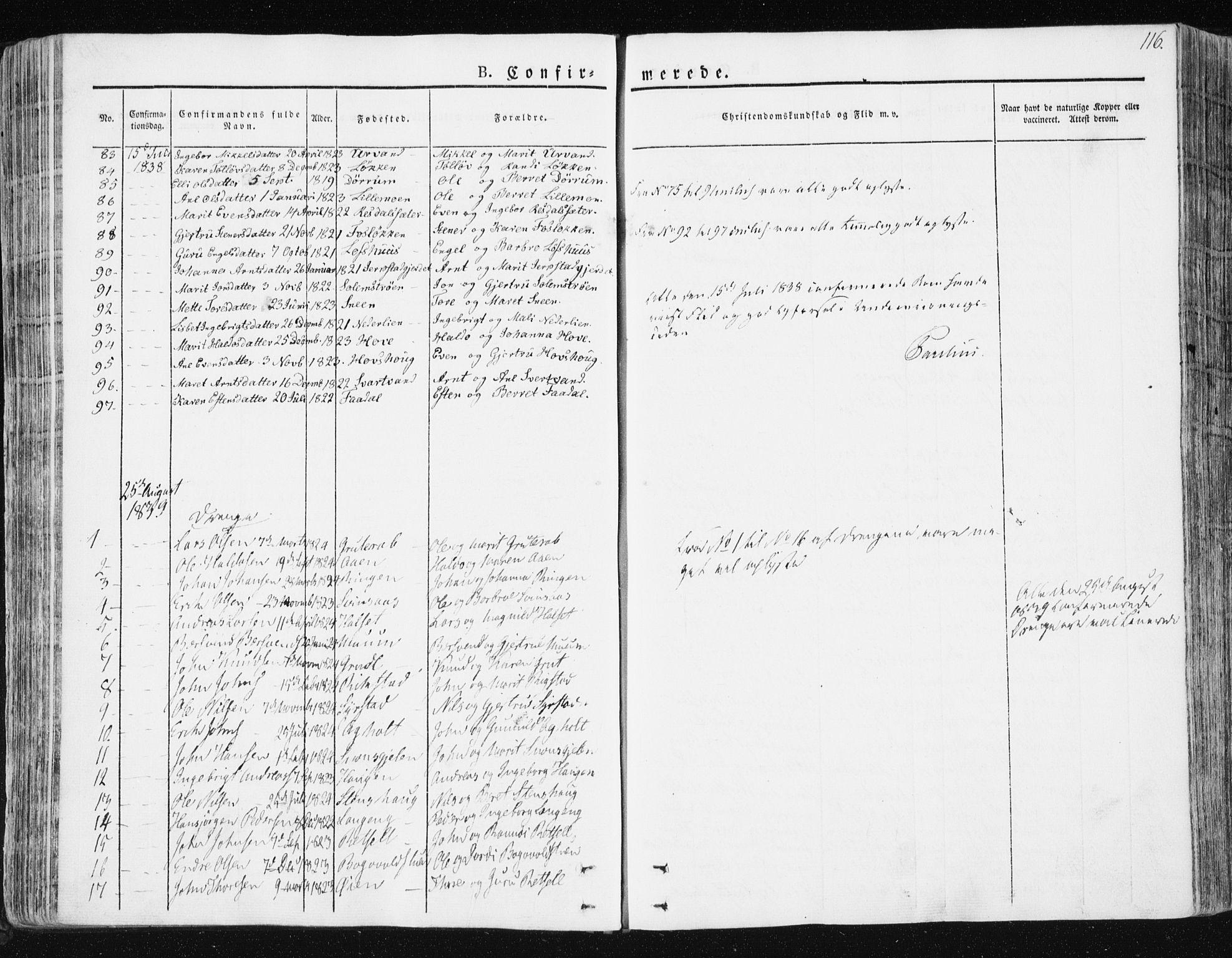 SAT, Ministerialprotokoller, klokkerbøker og fødselsregistre - Sør-Trøndelag, 672/L0855: Ministerialbok nr. 672A07, 1829-1860, s. 116
