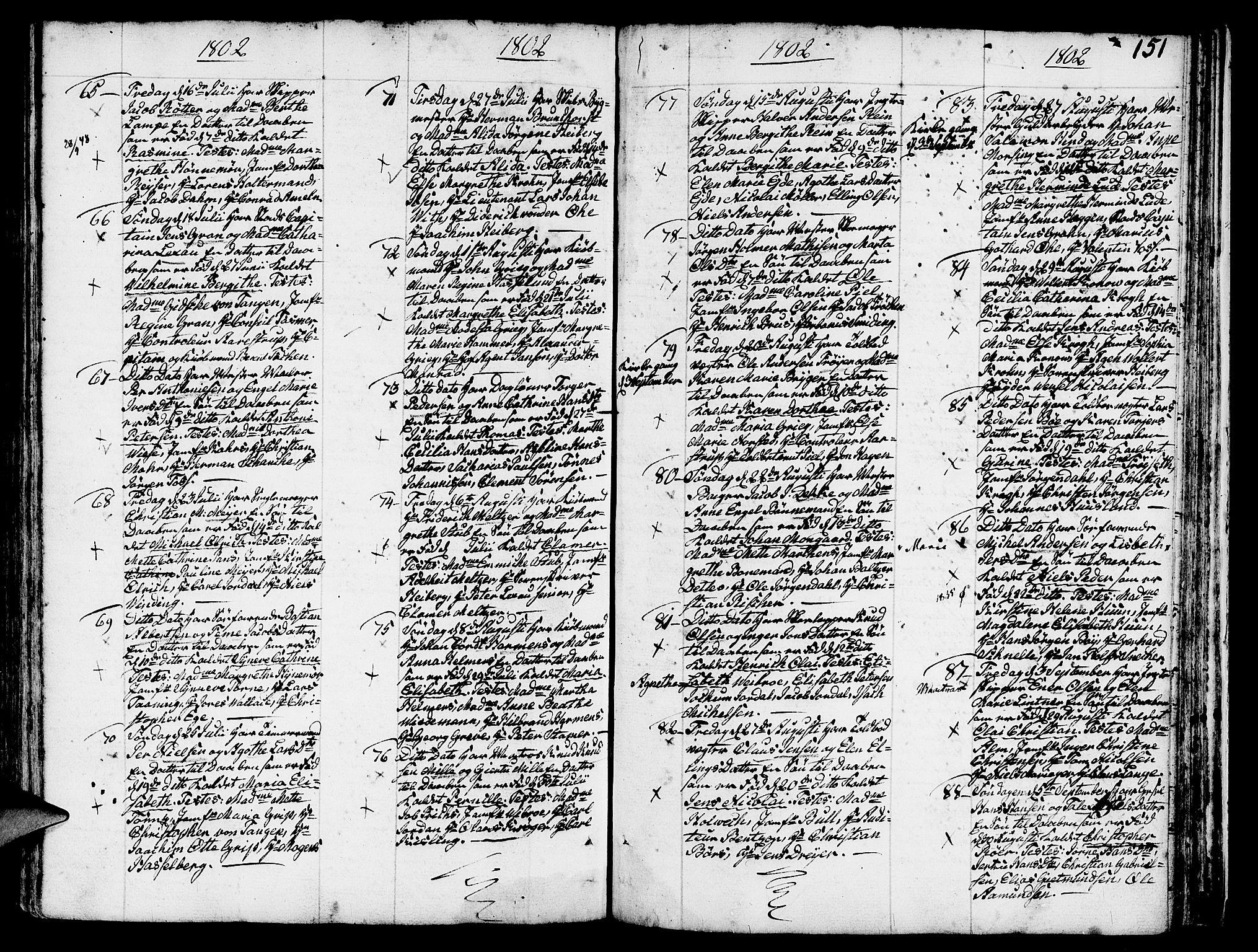 SAB, Nykirken Sokneprestembete, H/Haa: Ministerialbok nr. A 5, 1775-1808, s. 151