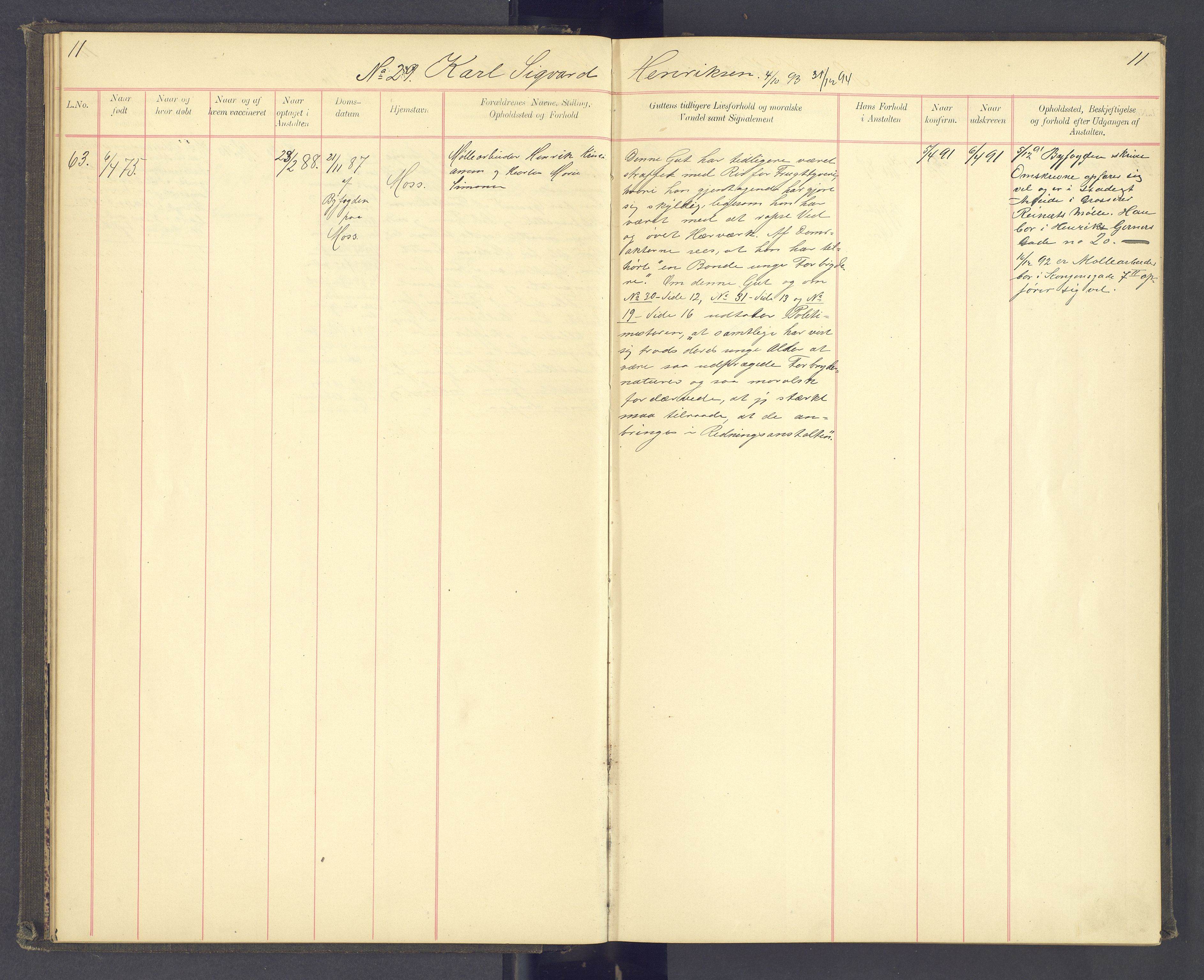 SAH, Toftes Gave, F/Fc/L0003: Elevprotokoll, 1886-1897, s. 11
