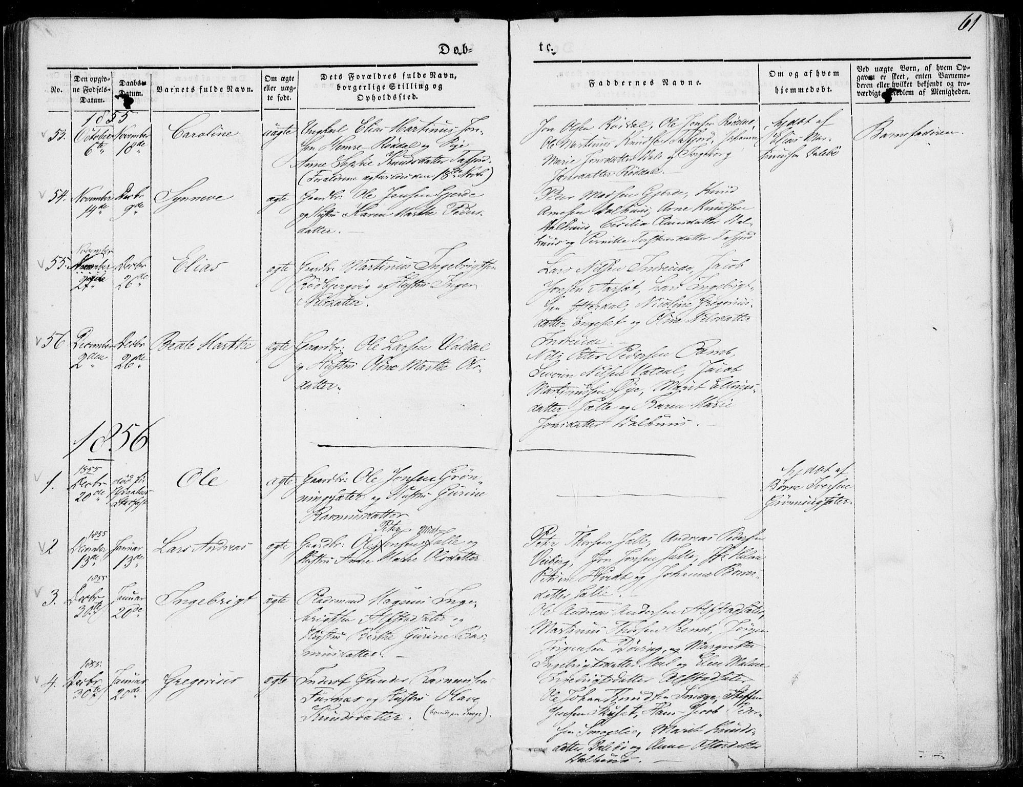 SAT, Ministerialprotokoller, klokkerbøker og fødselsregistre - Møre og Romsdal, 519/L0249: Ministerialbok nr. 519A08, 1846-1868, s. 61