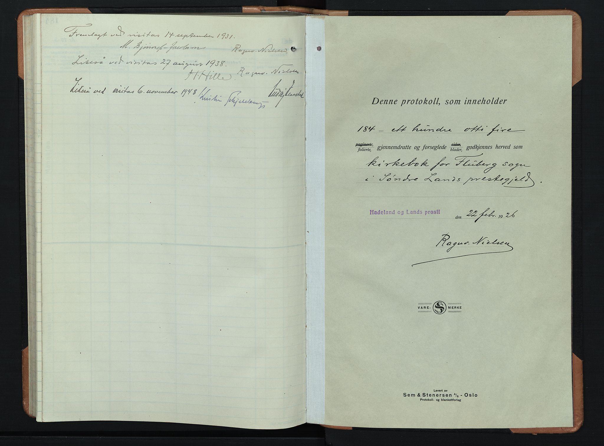SAH, Søndre Land prestekontor, L/L0008: Klokkerbok nr. 8, 1926-1950