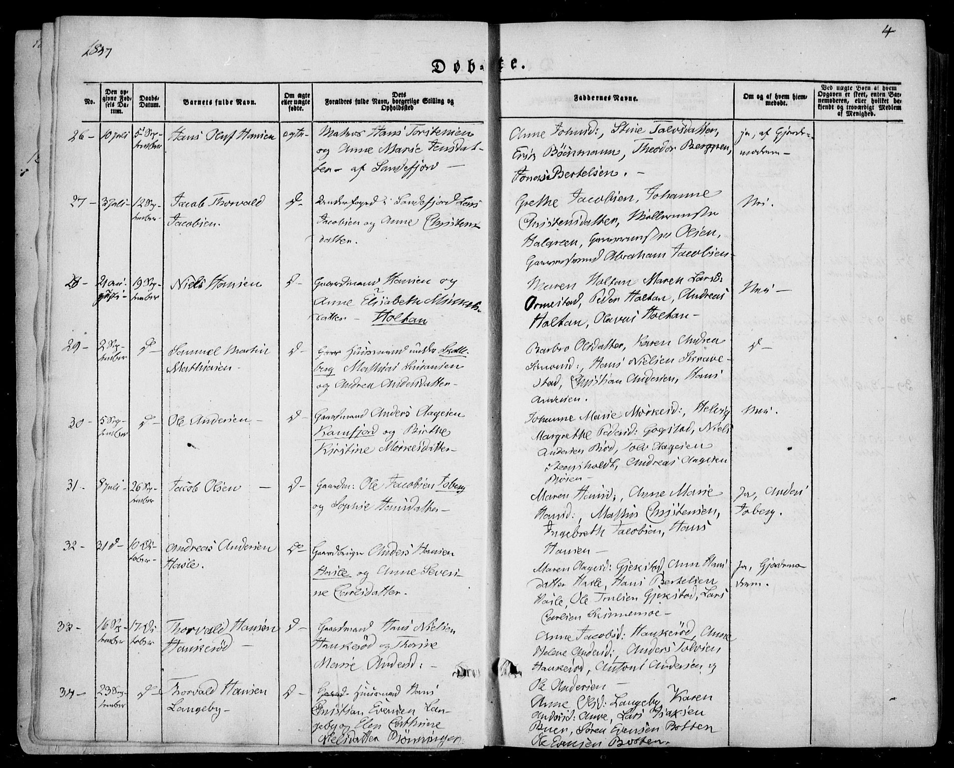 SAKO, Sandar kirkebøker, F/Fa/L0006: Ministerialbok nr. 6, 1847-1860, s. 4