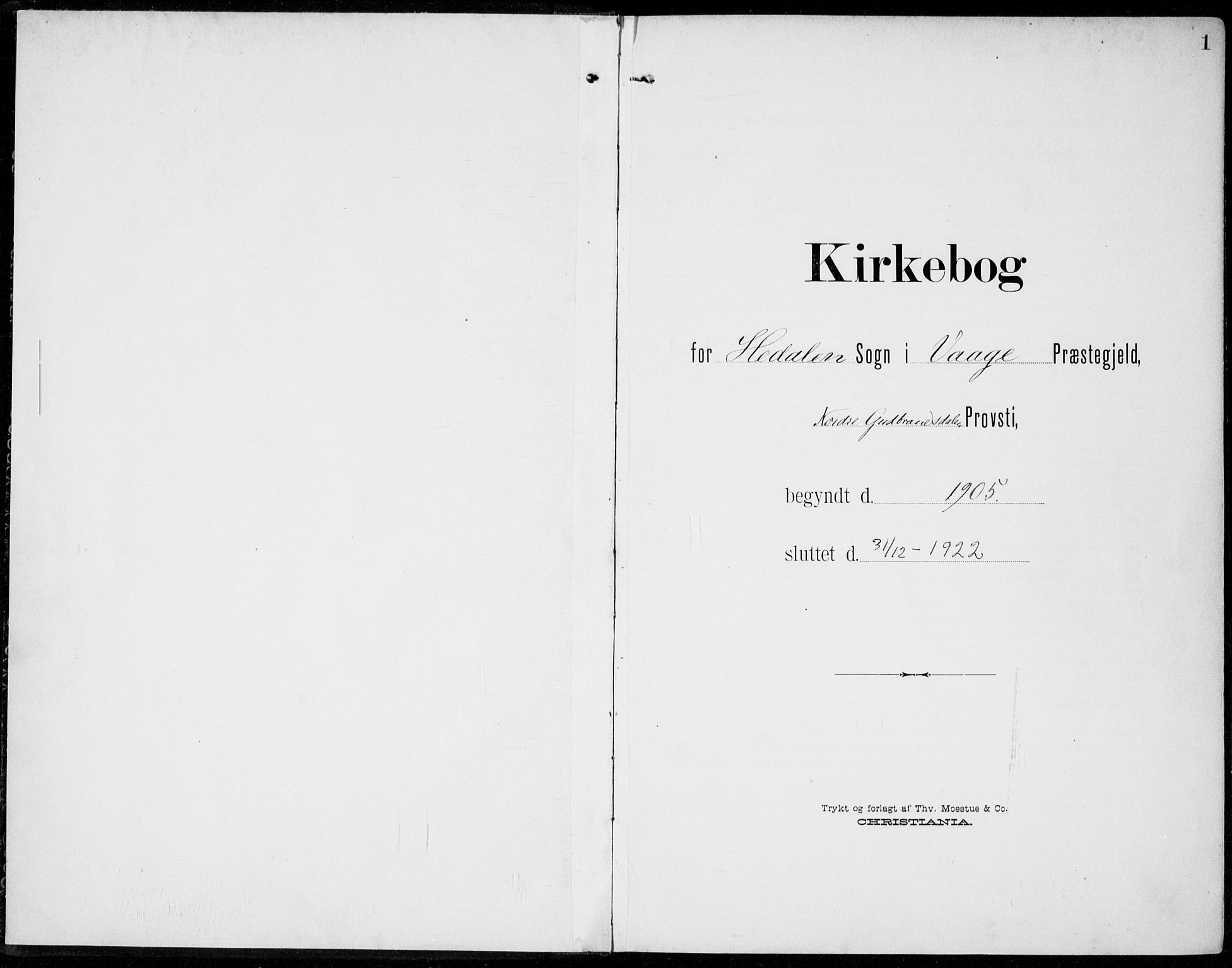 SAH, Sel prestekontor, Ministerialbok nr. 1, 1905-1922, s. 1