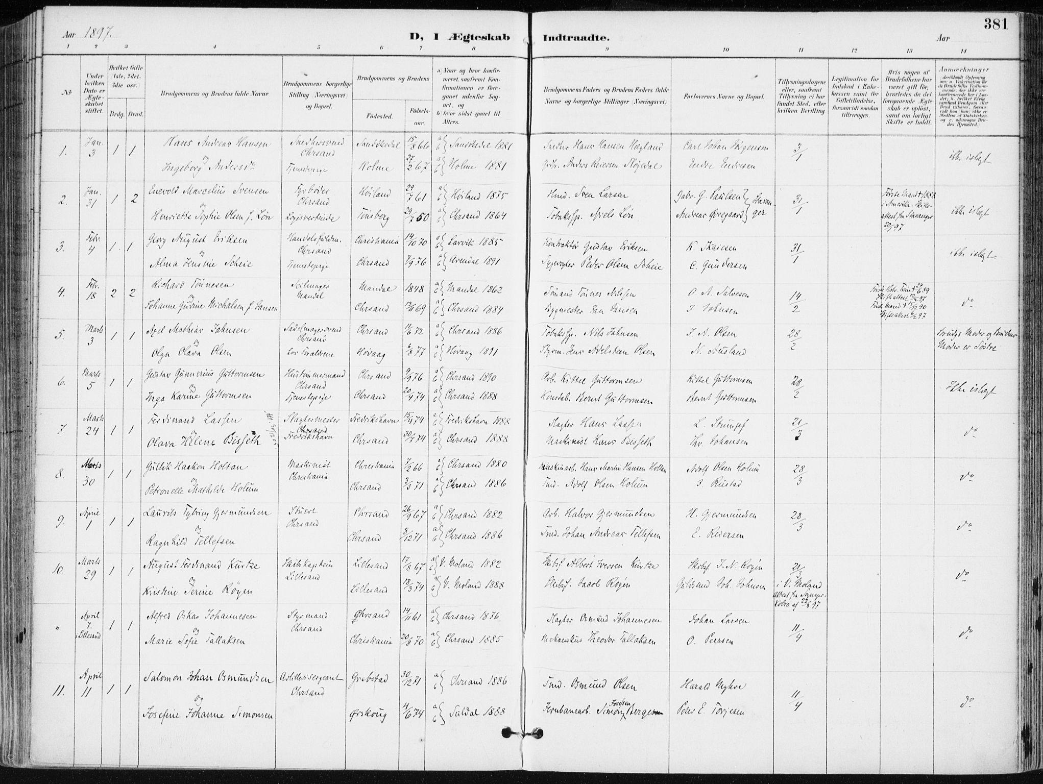 SAK, Kristiansand domprosti, F/Fa/L0019: Ministerialbok nr. A 18, 1890-1897, s. 381