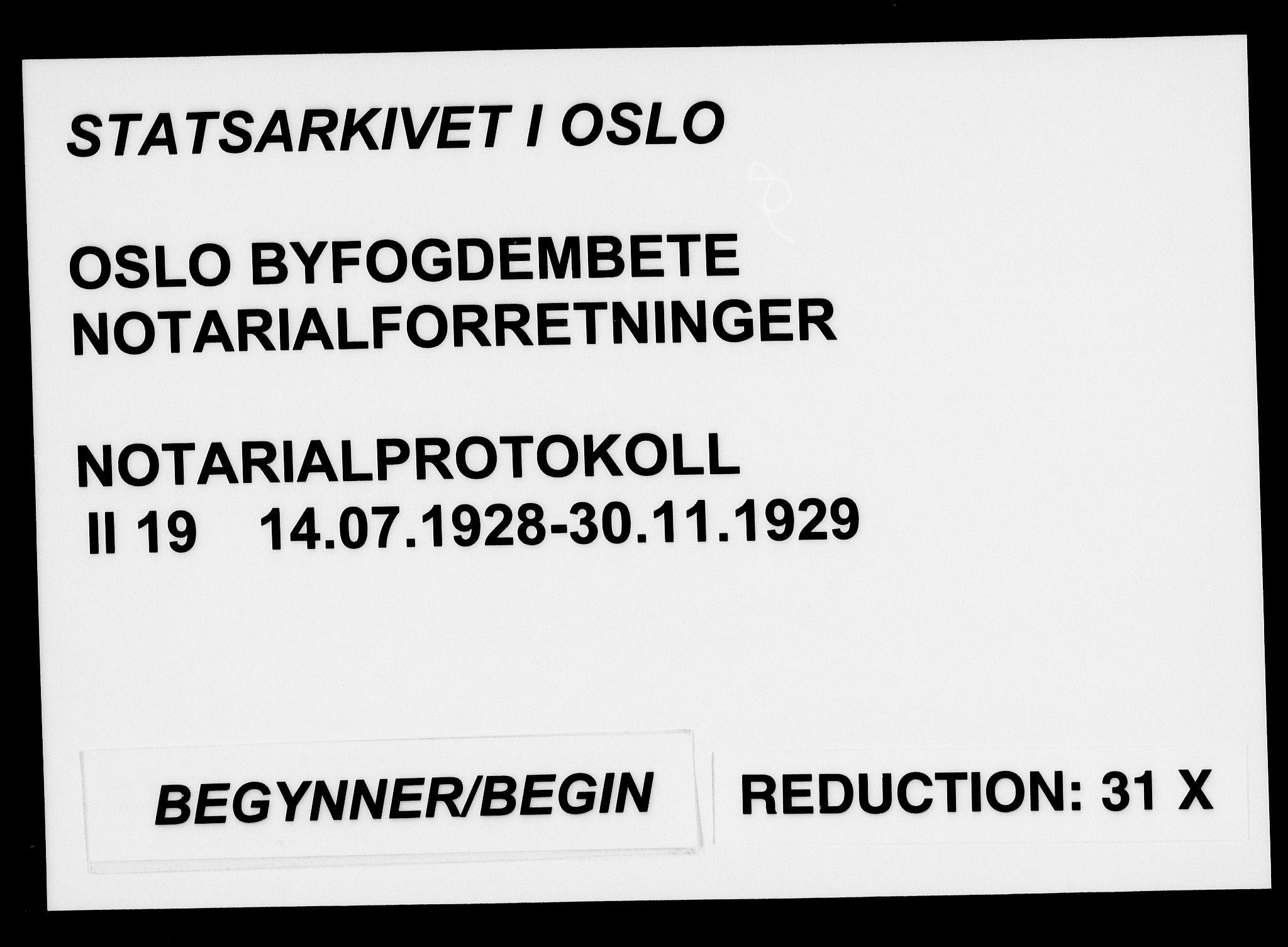 SAO, Oslo byfogd avd. I, L/Lb/Lbb/L0019: Notarialprotokoll, rekke II: Vigsler, 1928-1929, s. upaginert