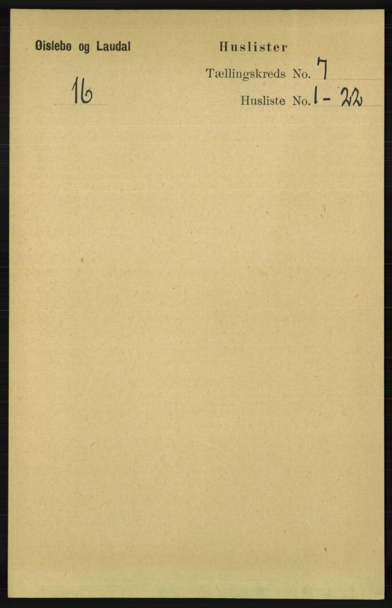 RA, Folketelling 1891 for 1021 Øyslebø og Laudal herred, 1891, s. 1901