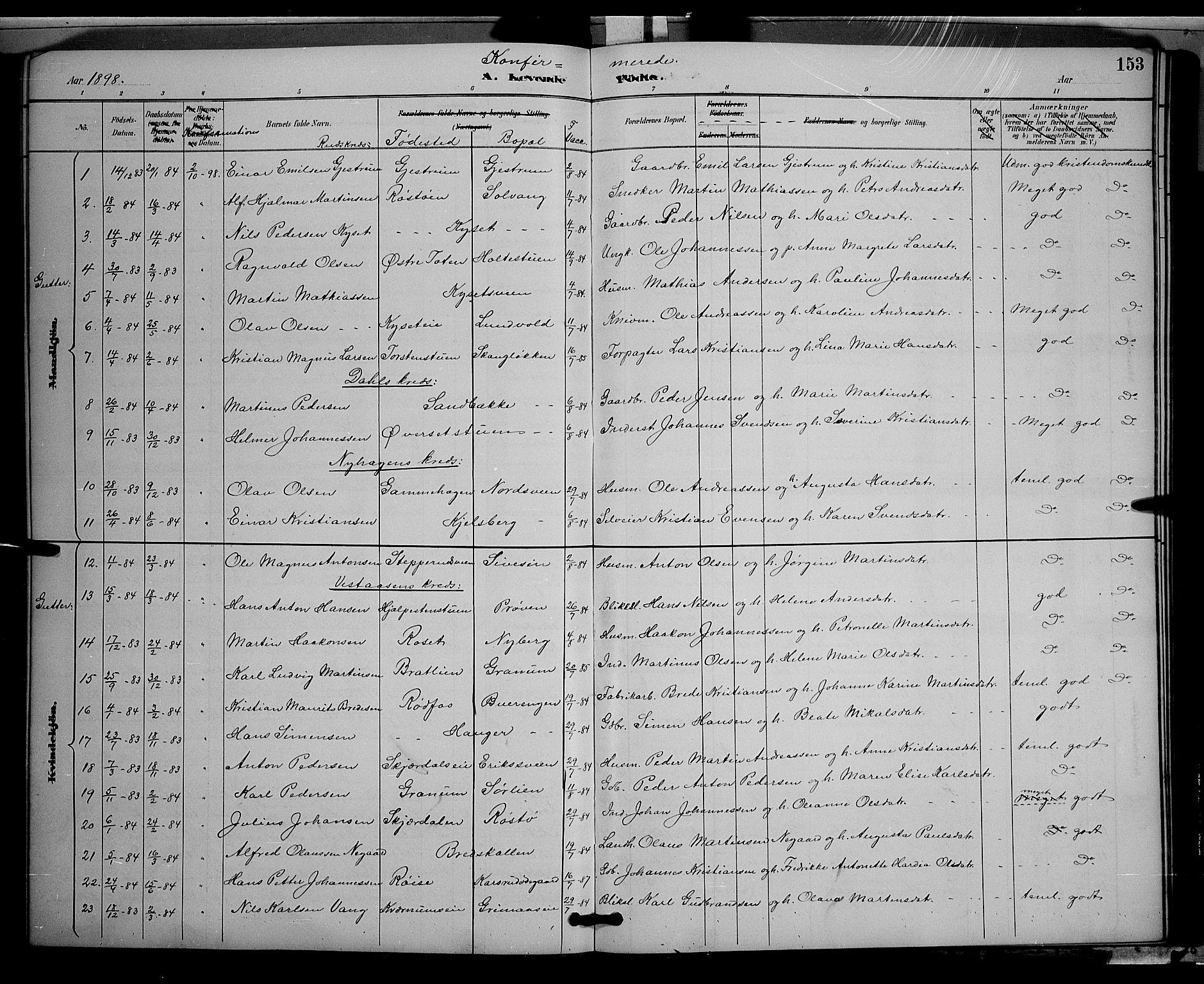 SAH, Vestre Toten prestekontor, Klokkerbok nr. 9, 1888-1900, s. 153
