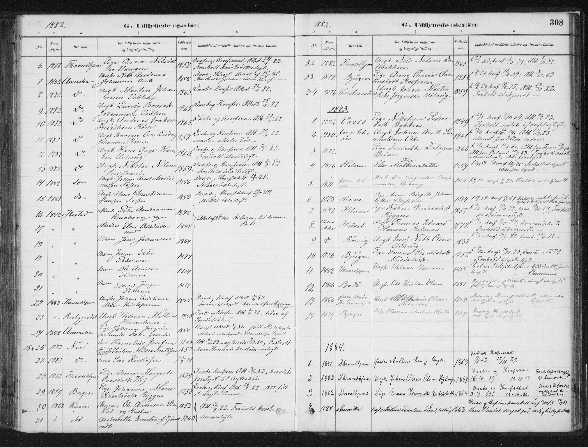 SAT, Ministerialprotokoller, klokkerbøker og fødselsregistre - Sør-Trøndelag, 659/L0739: Ministerialbok nr. 659A09, 1879-1893, s. 308