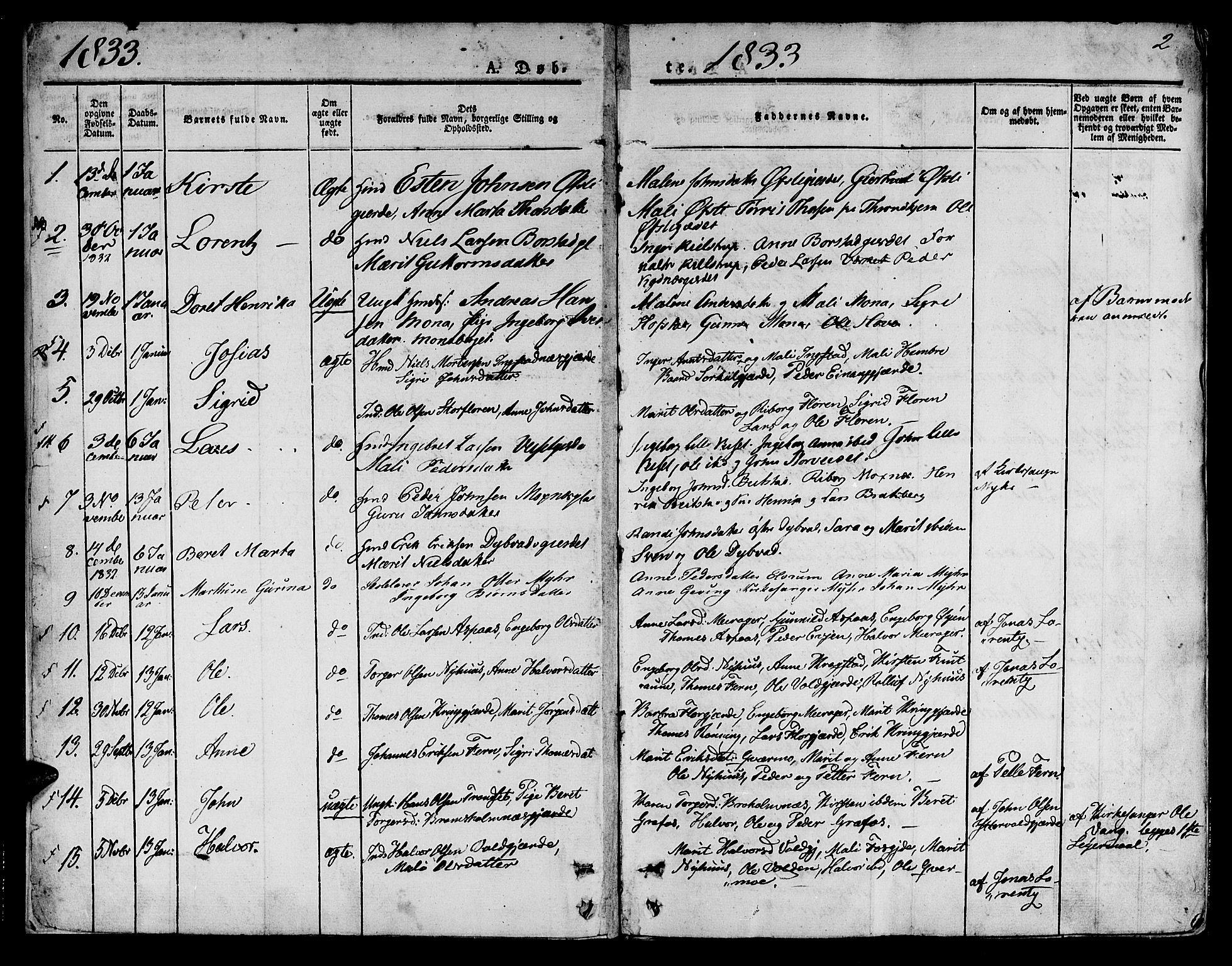 SAT, Ministerialprotokoller, klokkerbøker og fødselsregistre - Nord-Trøndelag, 709/L0071: Ministerialbok nr. 709A11, 1833-1844, s. 2