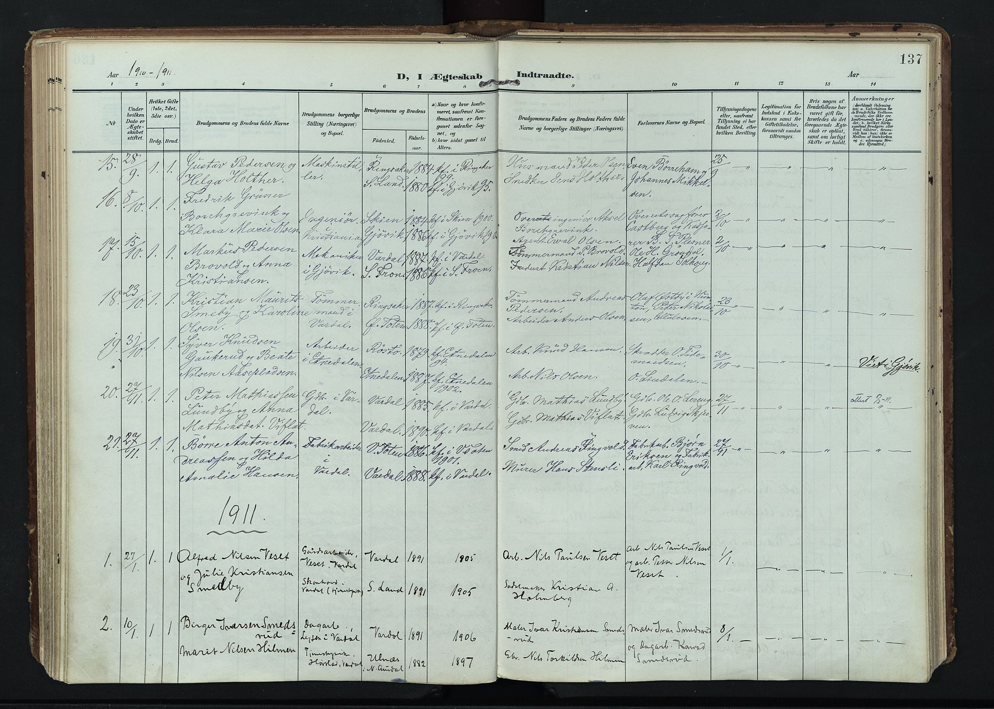 SAH, Vardal prestekontor, H/Ha/Haa/L0020: Ministerialbok nr. 20, 1907-1921, s. 137