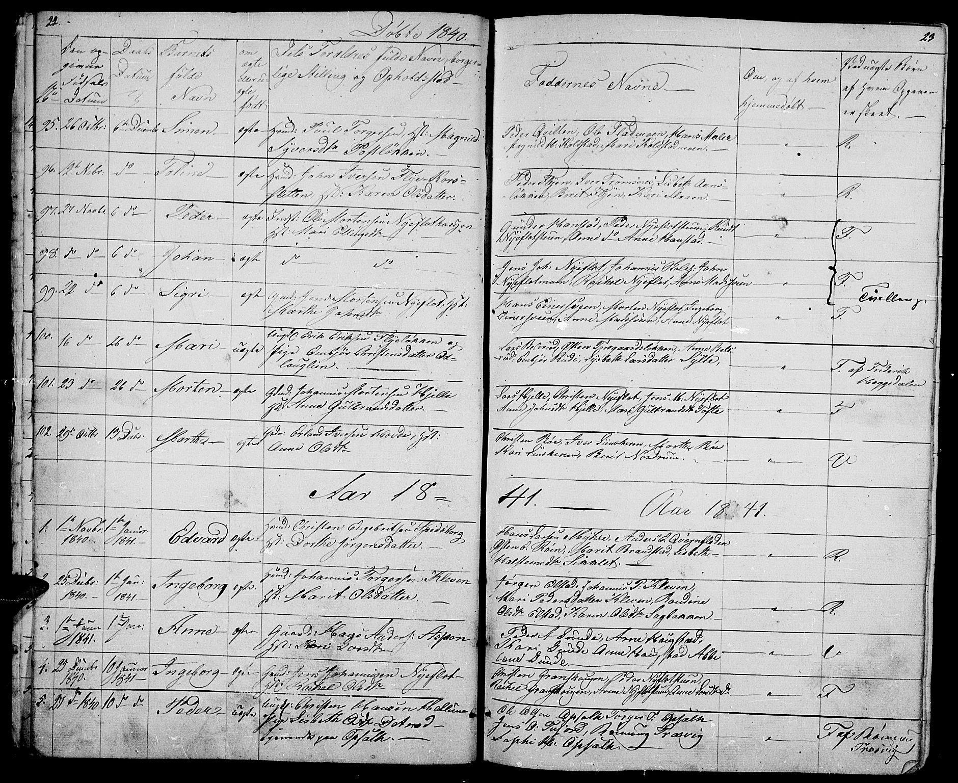SAH, Ringebu prestekontor, Klokkerbok nr. 2, 1839-1853, s. 22-23