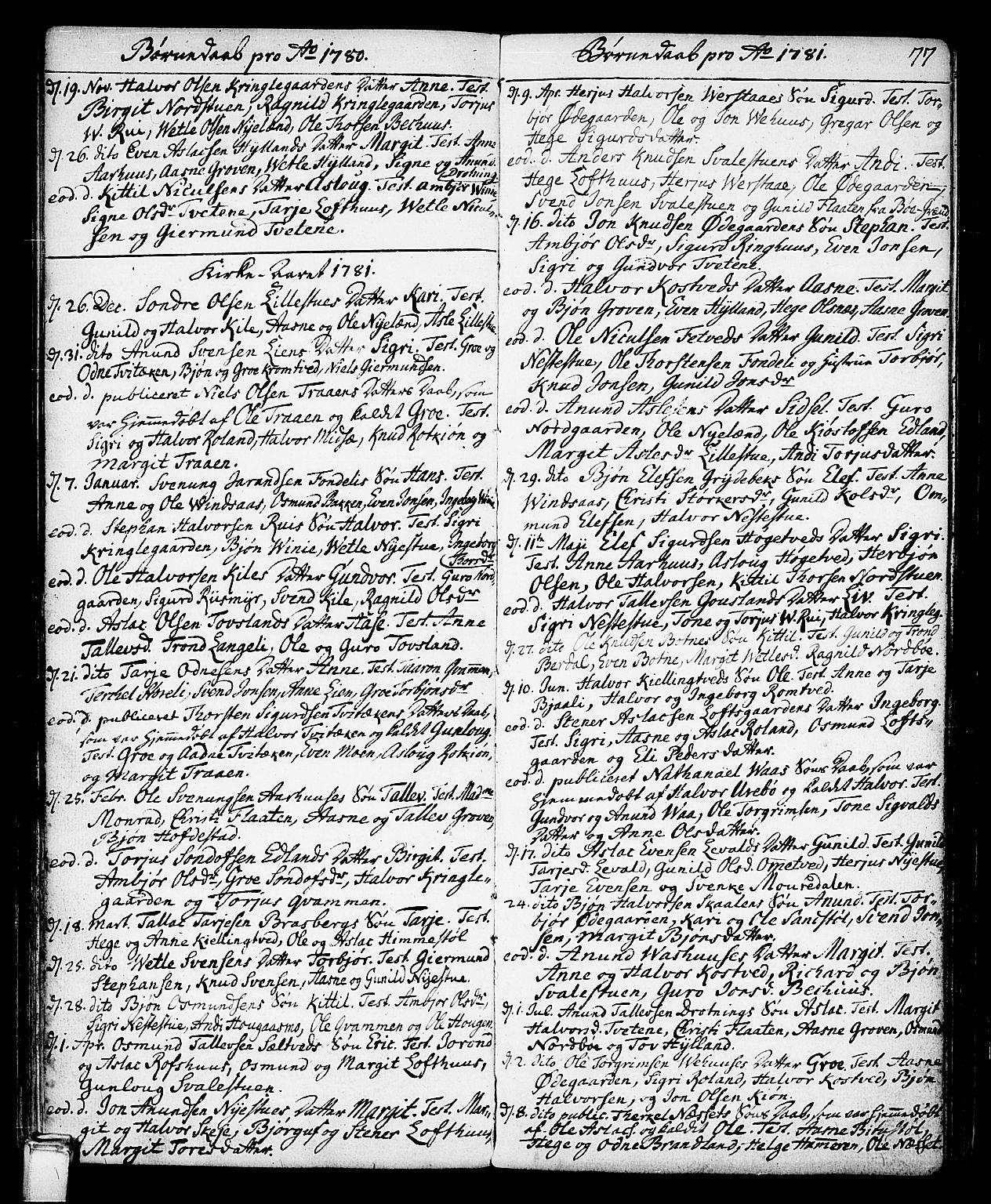 SAKO, Vinje kirkebøker, F/Fa/L0002: Ministerialbok nr. I 2, 1767-1814, s. 77