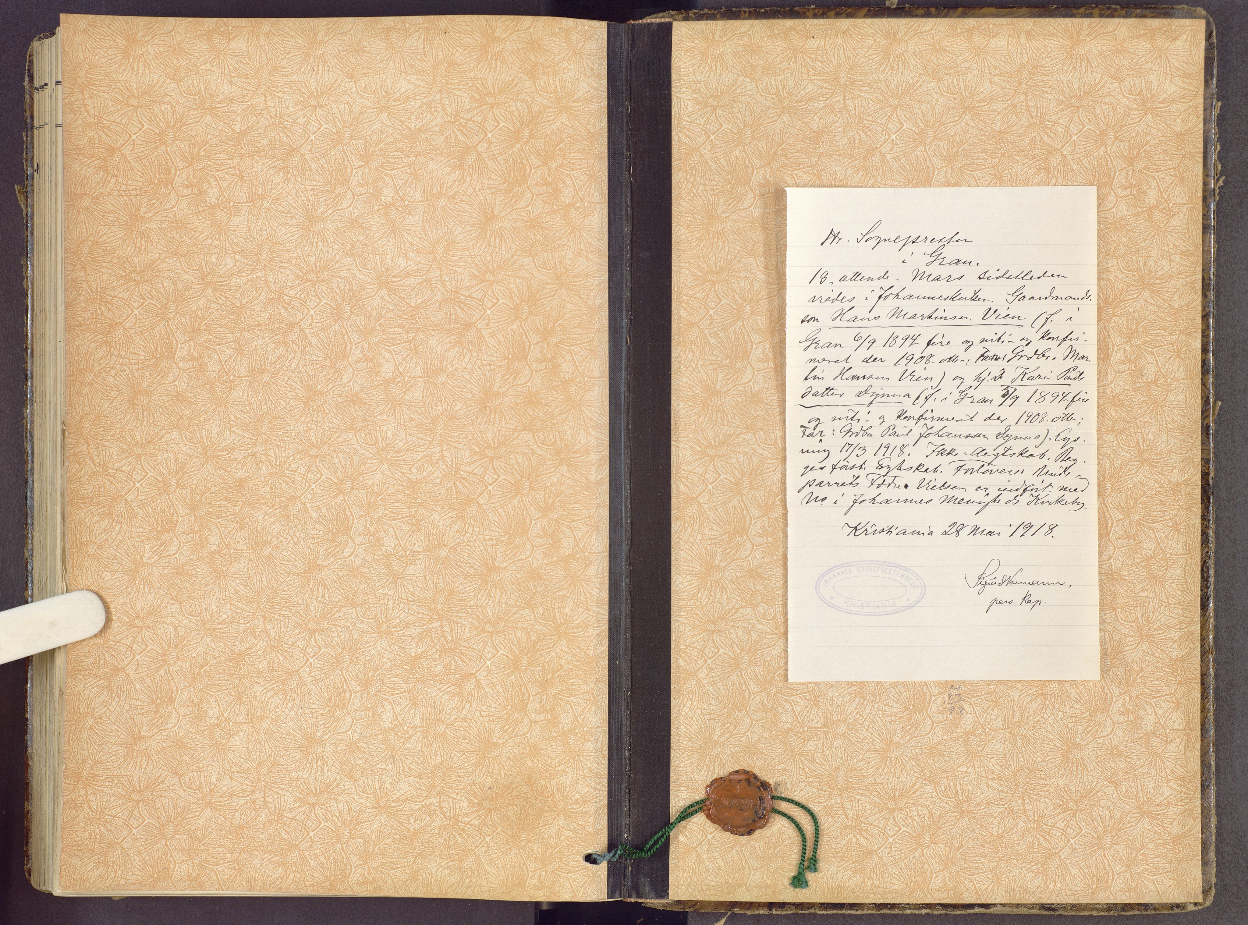 SAH, Gran prestekontor, Ministerialbok nr. 22, 1908-1918