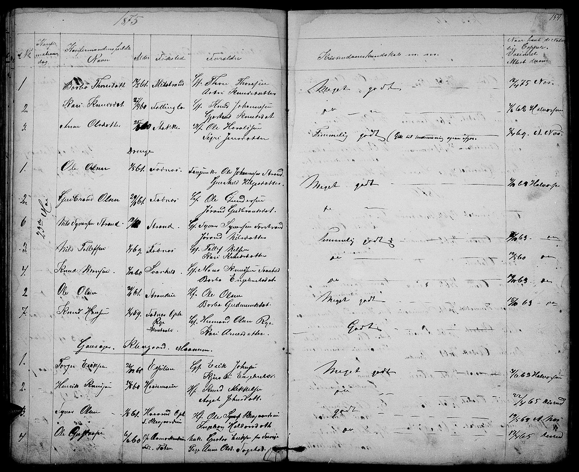 SAH, Nord-Aurdal prestekontor, Klokkerbok nr. 3, 1842-1882, s. 159