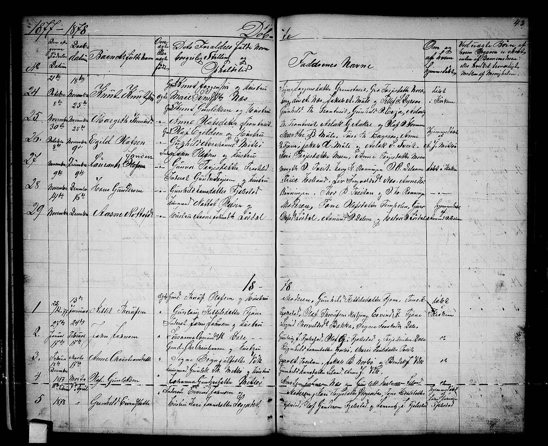 SAKO, Nissedal kirkebøker, G/Ga/L0002: Klokkerbok nr. I 2, 1861-1887, s. 43