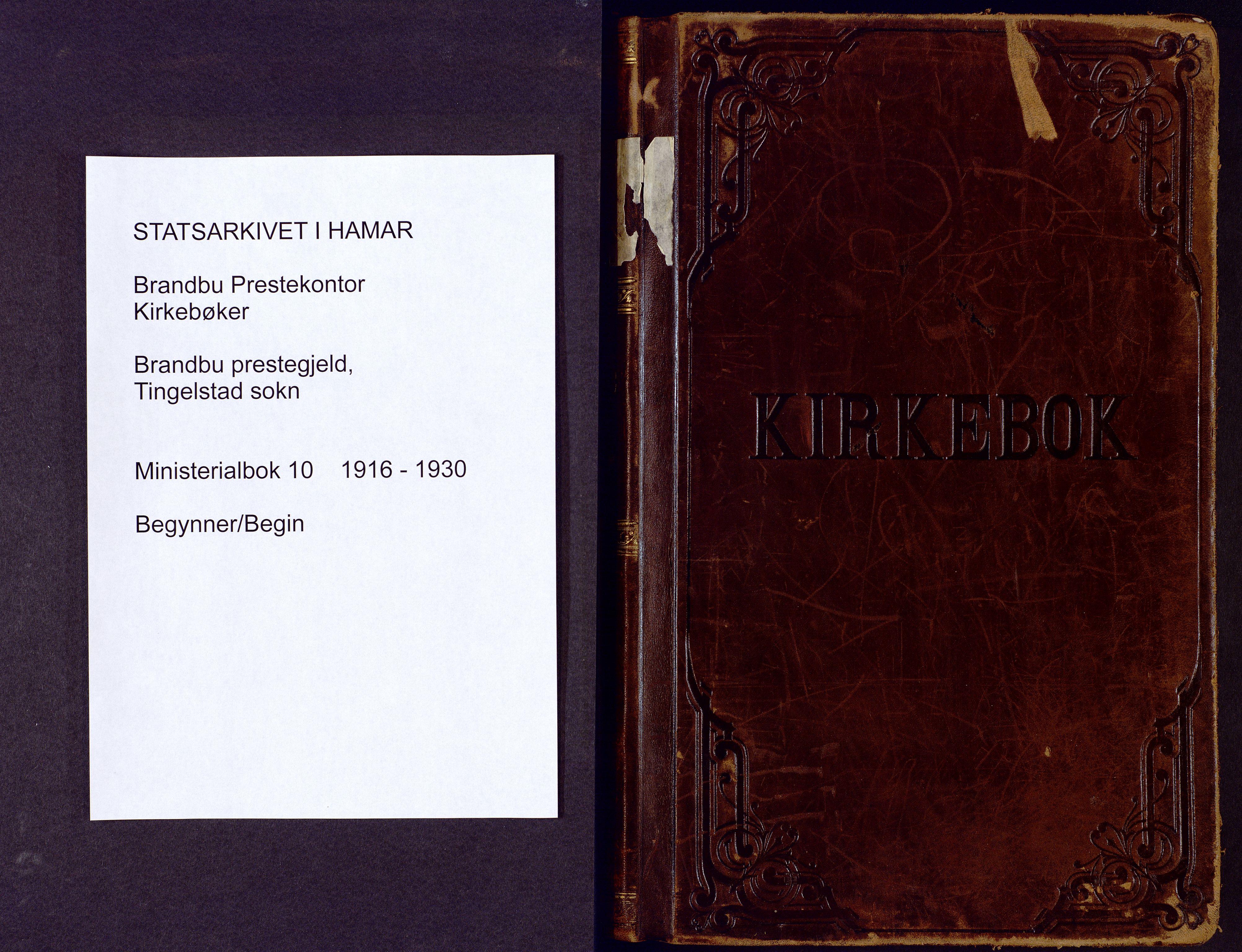SAH, Brandbu prestekontor, Klokkerbok nr. 10, 1916-1930