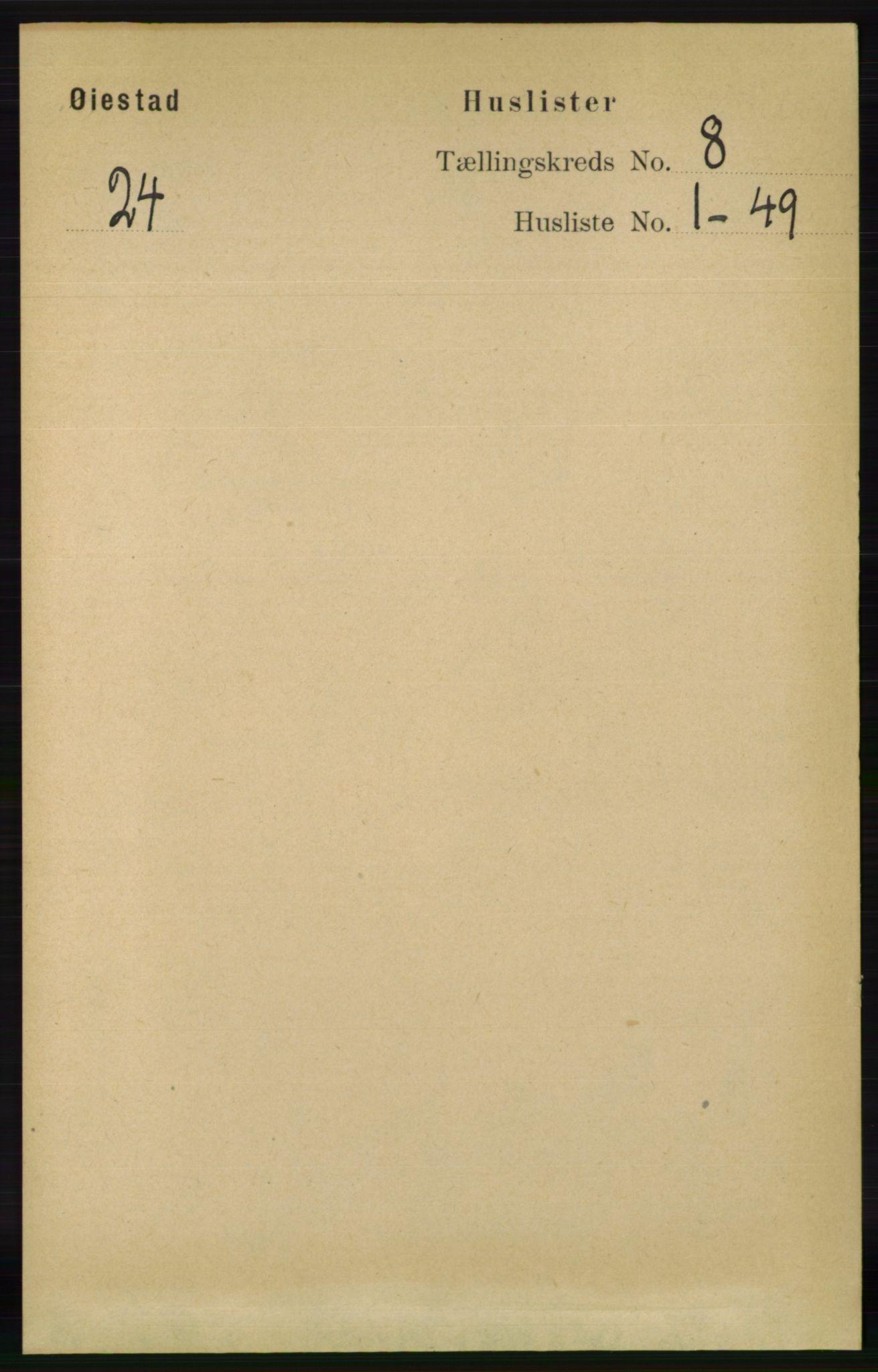 RA, Folketelling 1891 for 0920 Øyestad herred, 1891, s. 3134