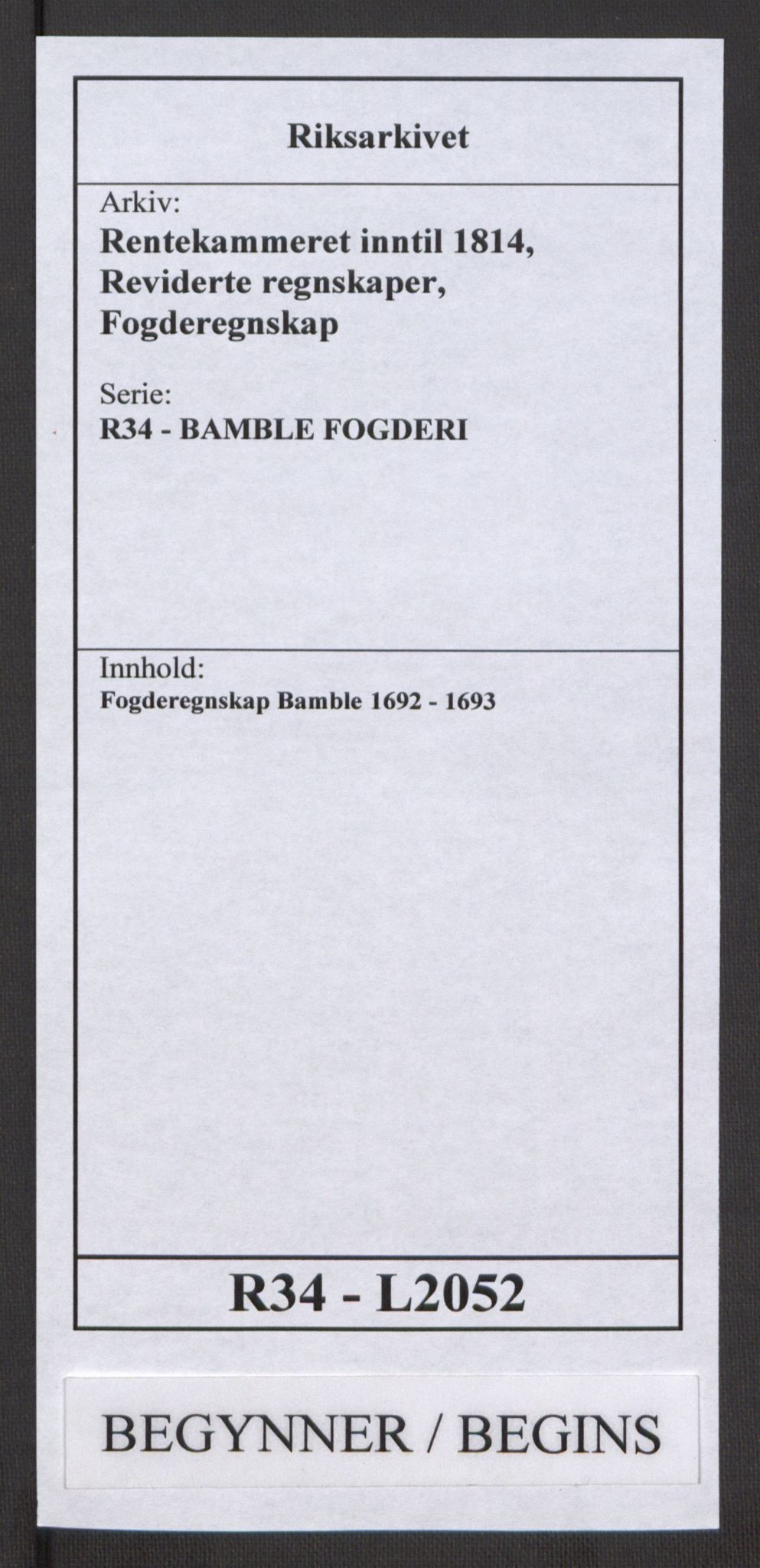 RA, Rentekammeret inntil 1814, Reviderte regnskaper, Fogderegnskap, R34/L2052: Fogderegnskap Bamble, 1692-1693, s. 1