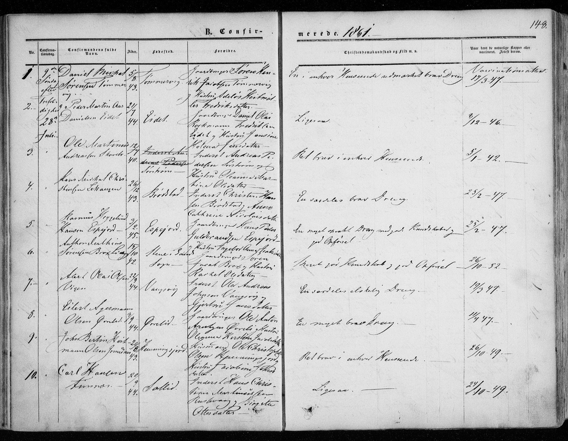 SATØ, Tranøy sokneprestkontor, I/Ia/Iaa/L0007kirke: Ministerialbok nr. 7, 1856-1866, s. 148