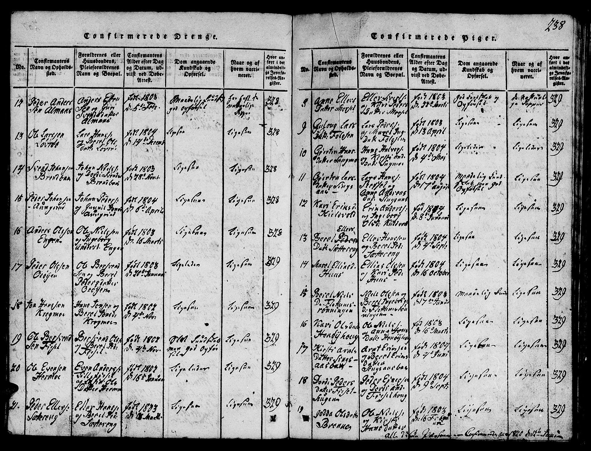 SAT, Ministerialprotokoller, klokkerbøker og fødselsregistre - Sør-Trøndelag, 688/L1026: Klokkerbok nr. 688C01, 1817-1860, s. 238