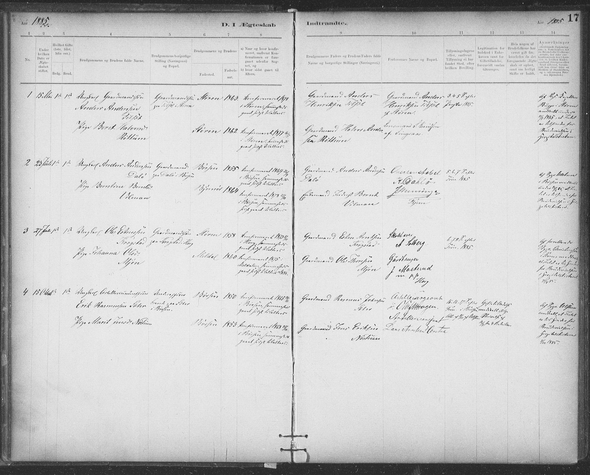 SAT, Ministerialprotokoller, klokkerbøker og fødselsregistre - Sør-Trøndelag, 623/L0470: Ministerialbok nr. 623A04, 1884-1938, s. 17