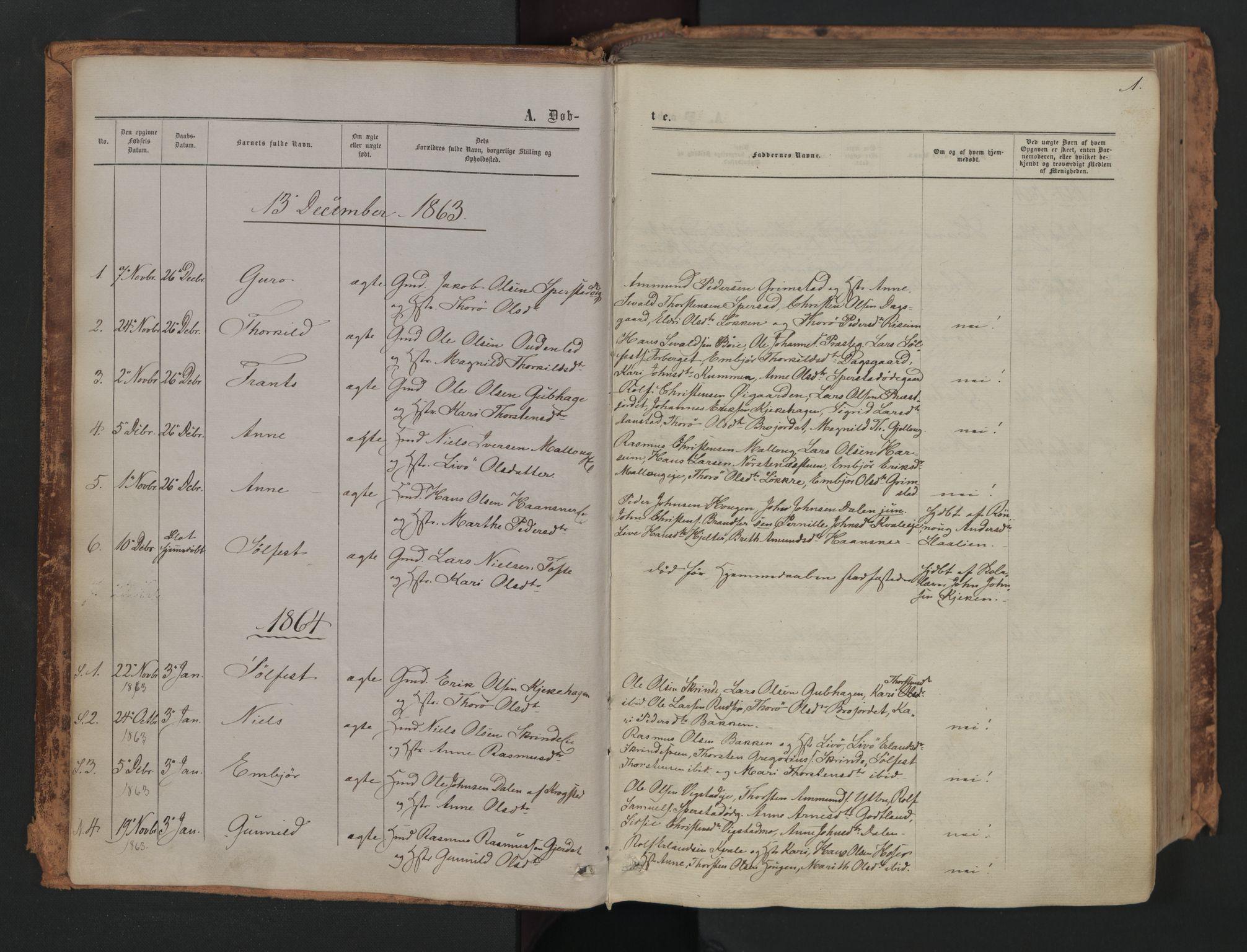 SAH, Skjåk prestekontor, Ministerialbok nr. 1, 1863-1879, s. 1