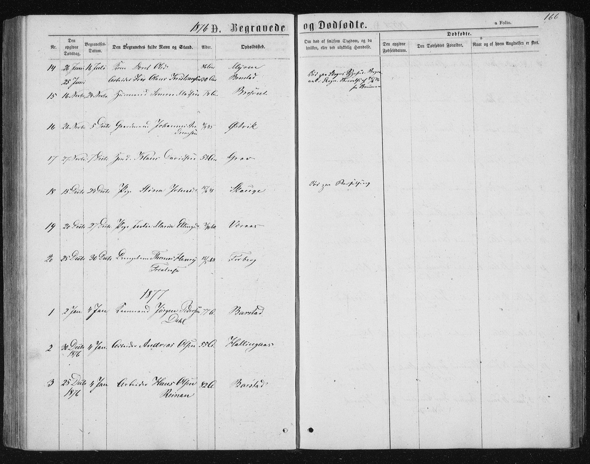 SAT, Ministerialprotokoller, klokkerbøker og fødselsregistre - Nord-Trøndelag, 722/L0219: Ministerialbok nr. 722A06, 1868-1880, s. 166
