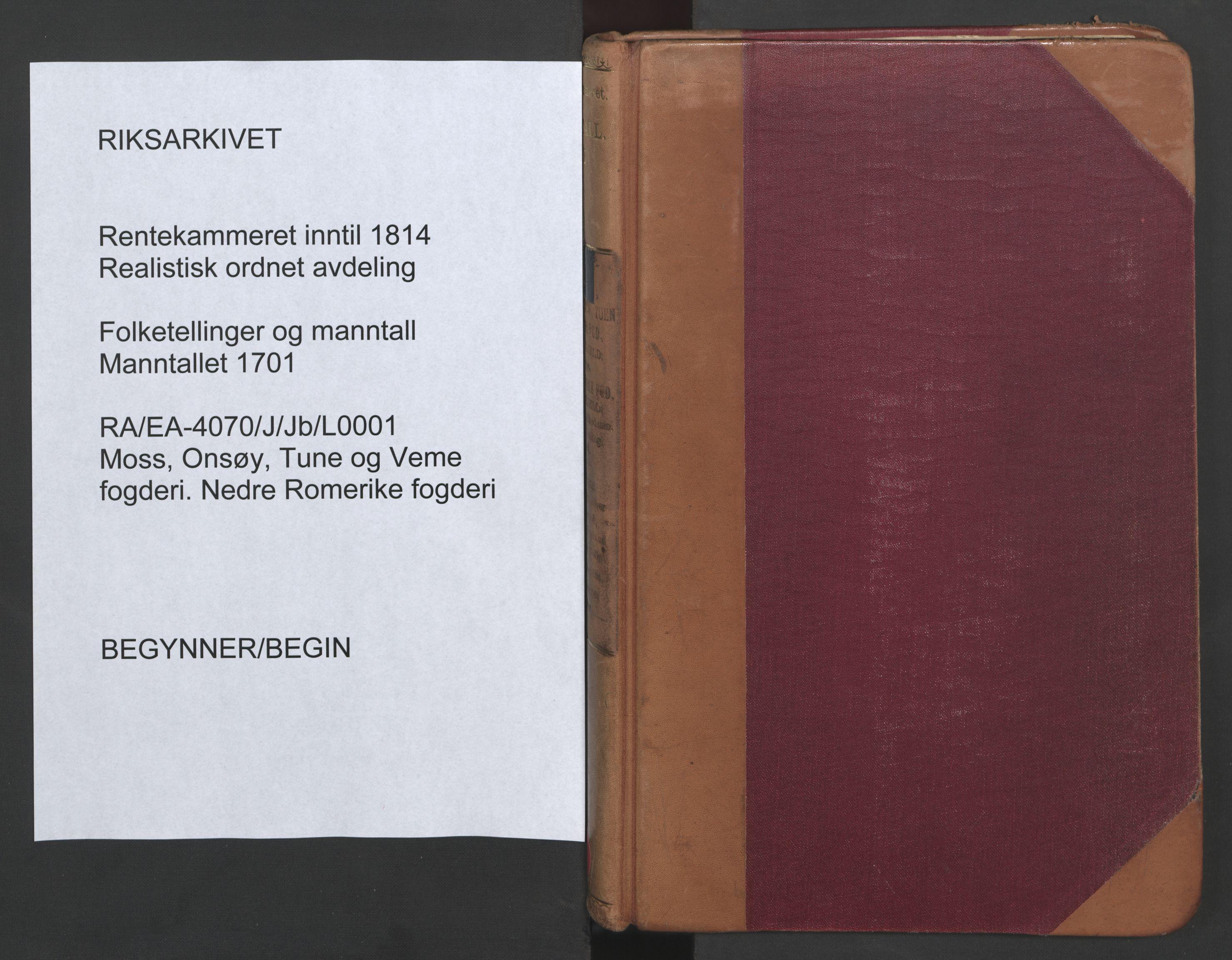 RA, Manntallet 1701, nr. 1: Moss, Onsøy, Tune og Veme fogderi og Nedre Romerike fogderi, 1701