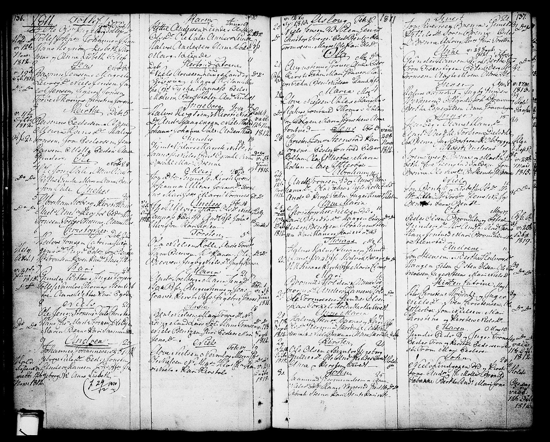 SAKO, Holla kirkebøker, F/Fa/L0002: Ministerialbok nr. 2, 1779-1814, s. 136-137