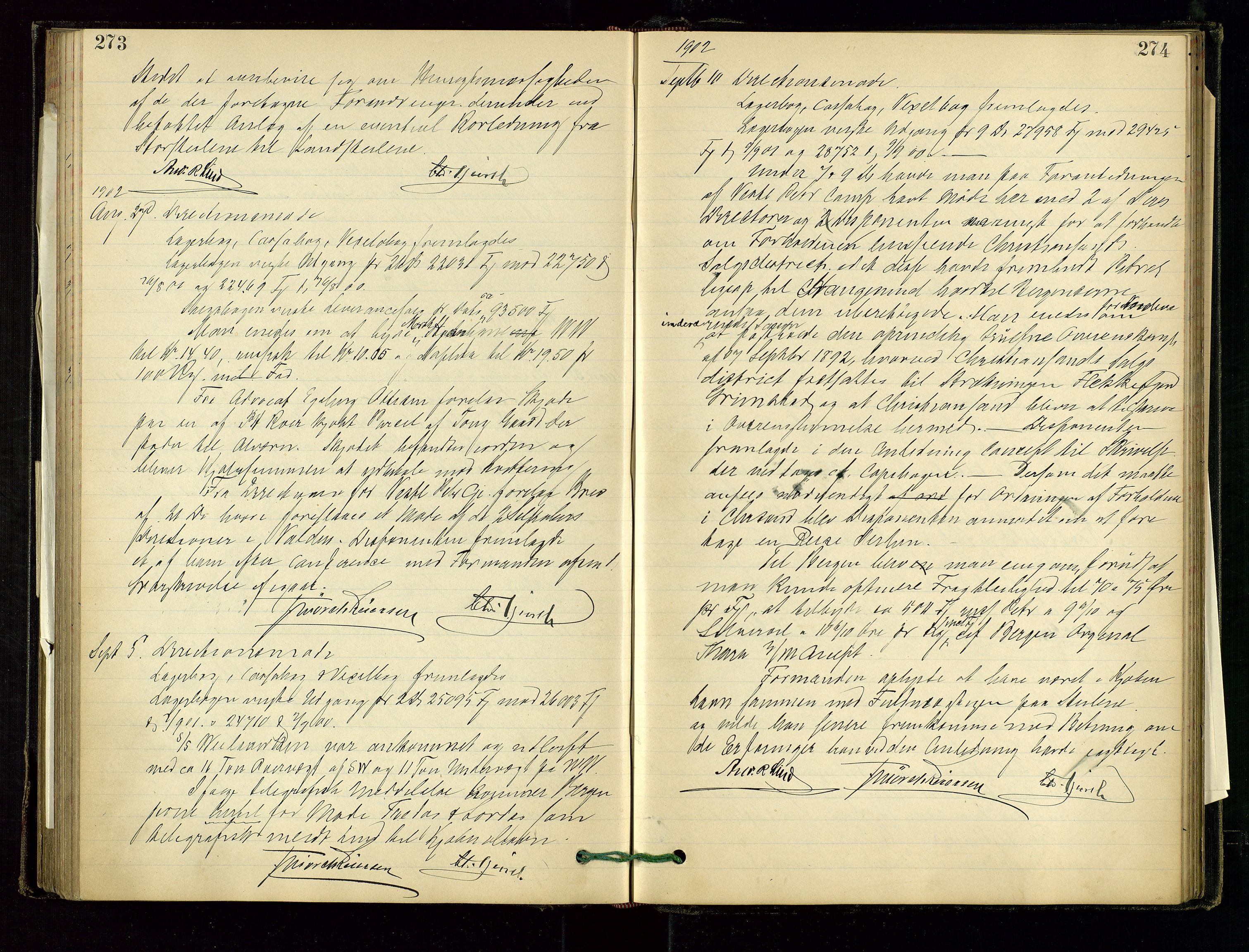 SAST, PA 1534 - Østlandske Petroleumscompagni A/S, A/Aa/L0001: Generalforsamlinger og direksjonsprotokoller., 1892-1905, s. 273-274