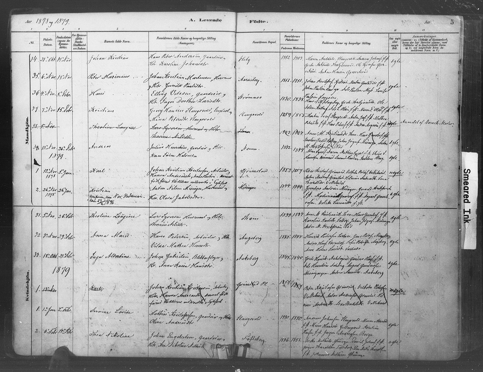 SAO, Råde prestekontor kirkebøker, F/Fa/L0007: Ministerialbok nr. 7, 1878-1902, s. 5