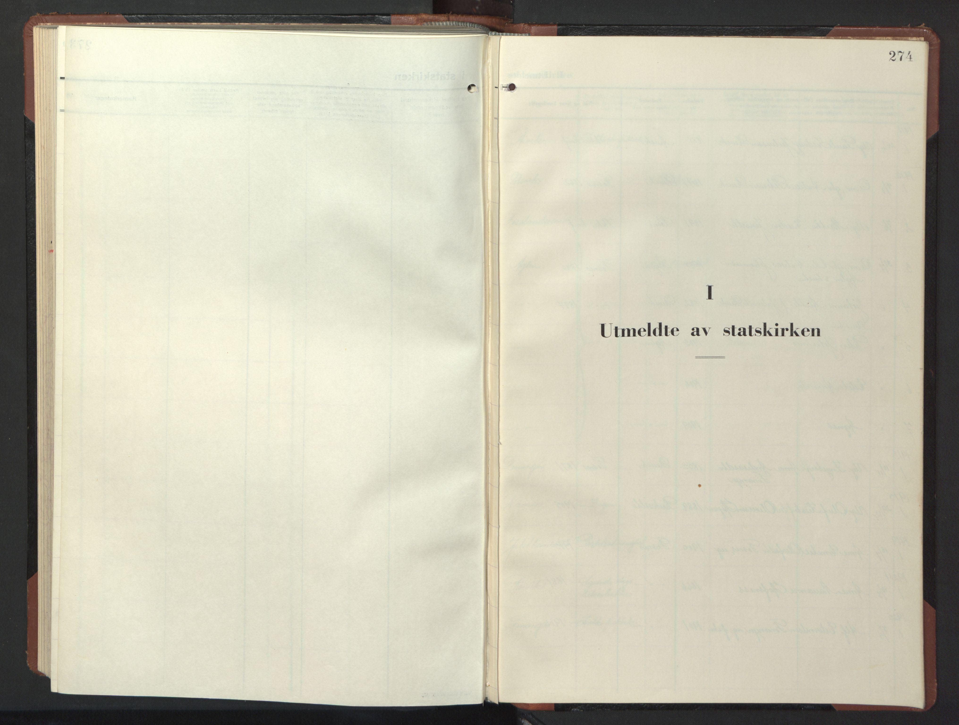 SAT, Ministerialprotokoller, klokkerbøker og fødselsregistre - Nord-Trøndelag, 773/L0625: Klokkerbok nr. 773C01, 1910-1952, s. 274
