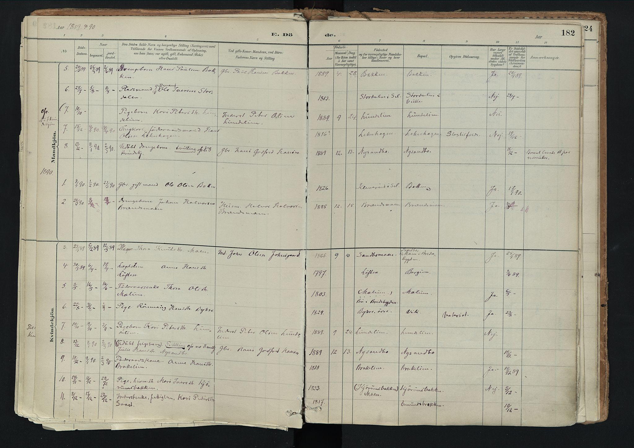 SAH, Nord-Fron prestekontor, Ministerialbok nr. 3, 1884-1914, s. 182